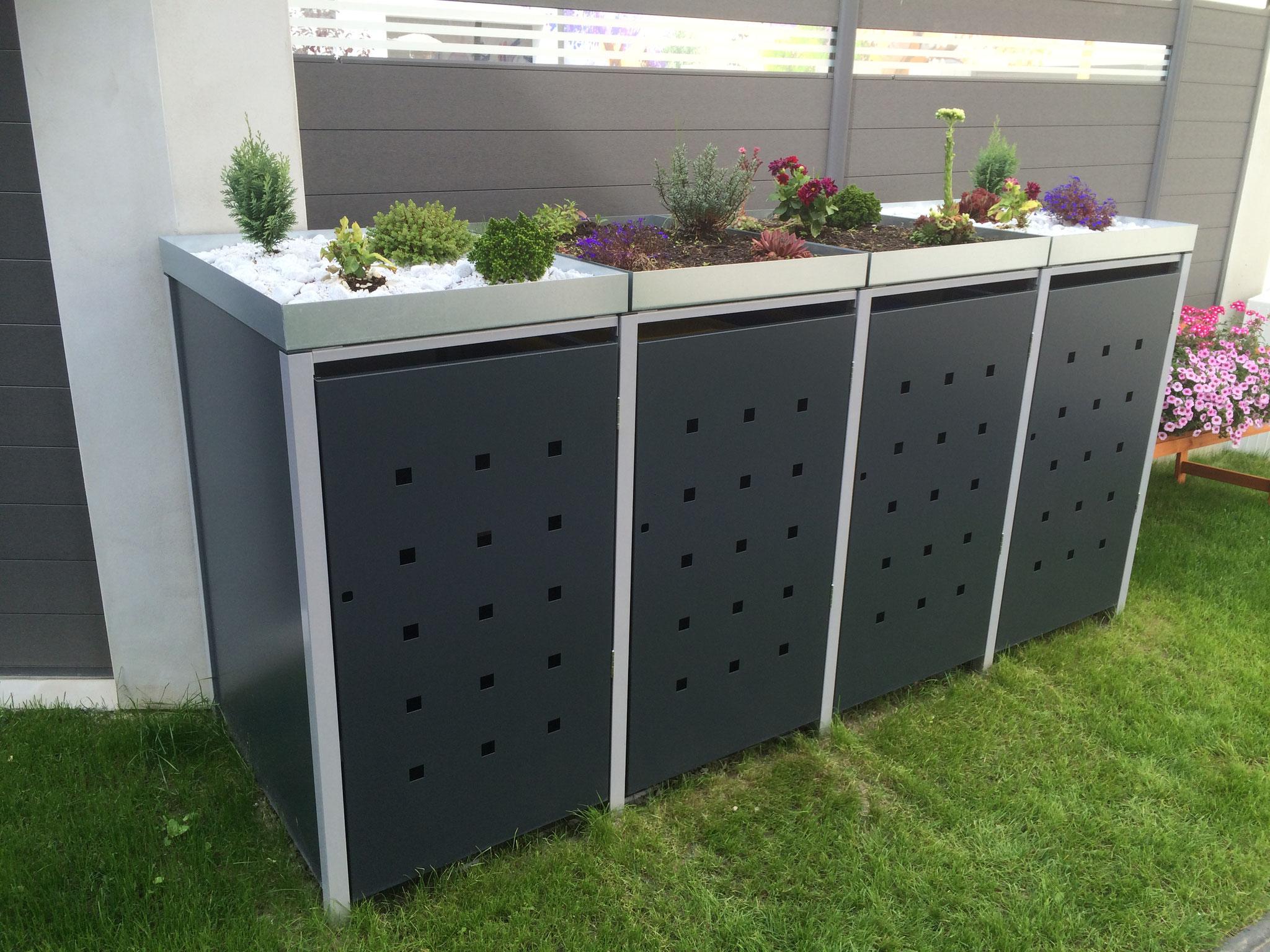 """4er Mülltonnenbox metall mit Pflanzdach und Stanzung """"ST 3/5"""" Seitenansicht"""