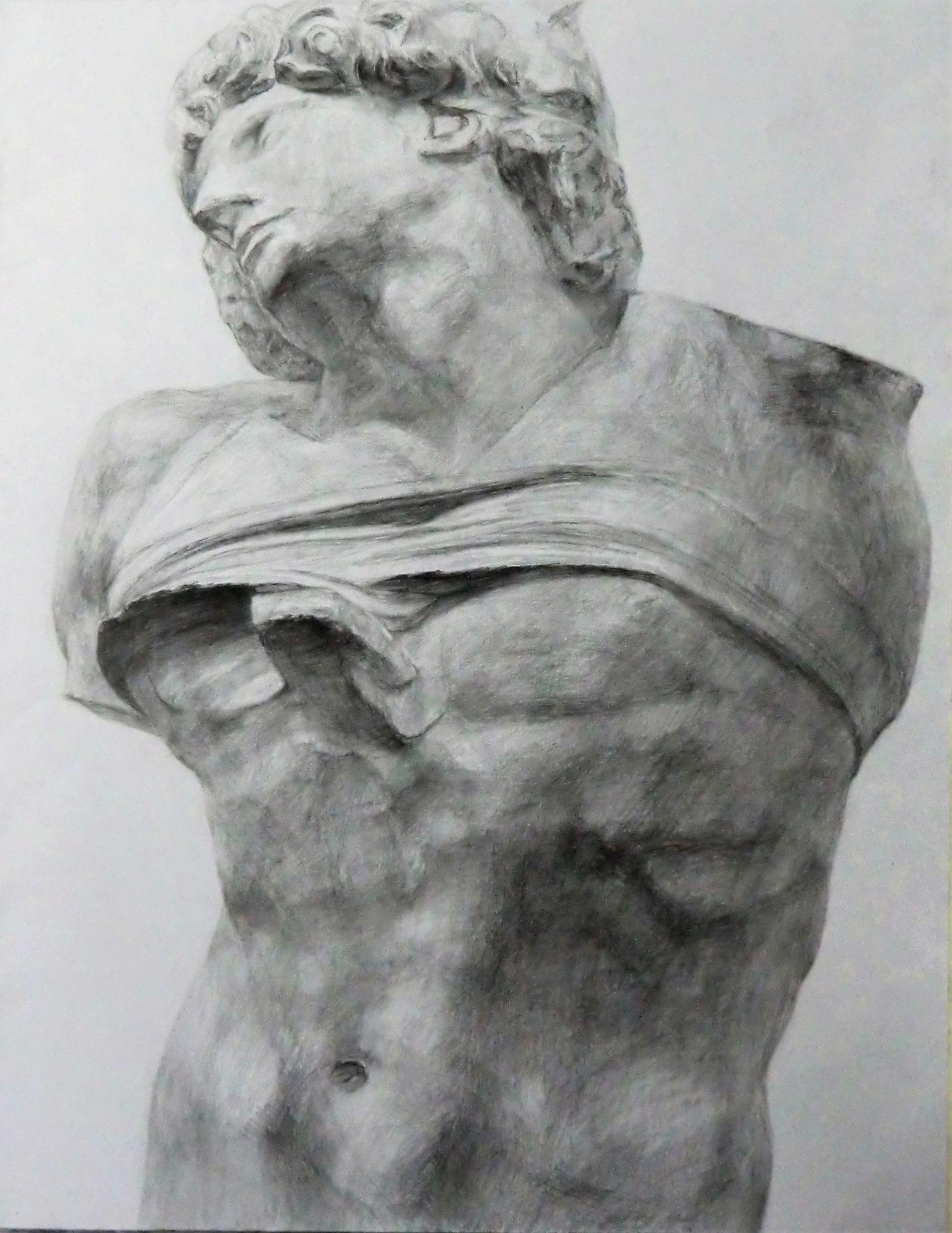 生徒作品6 鉛筆デッサン<奴隷半身像> 630×480mm 白象紙 【日本画系】