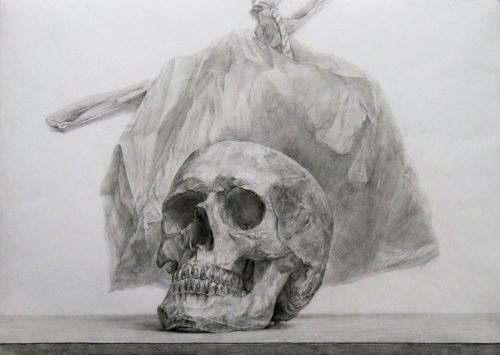生徒作品67 鉛筆デッサン<卓上静物> B3判 白象紙 【日本画系】