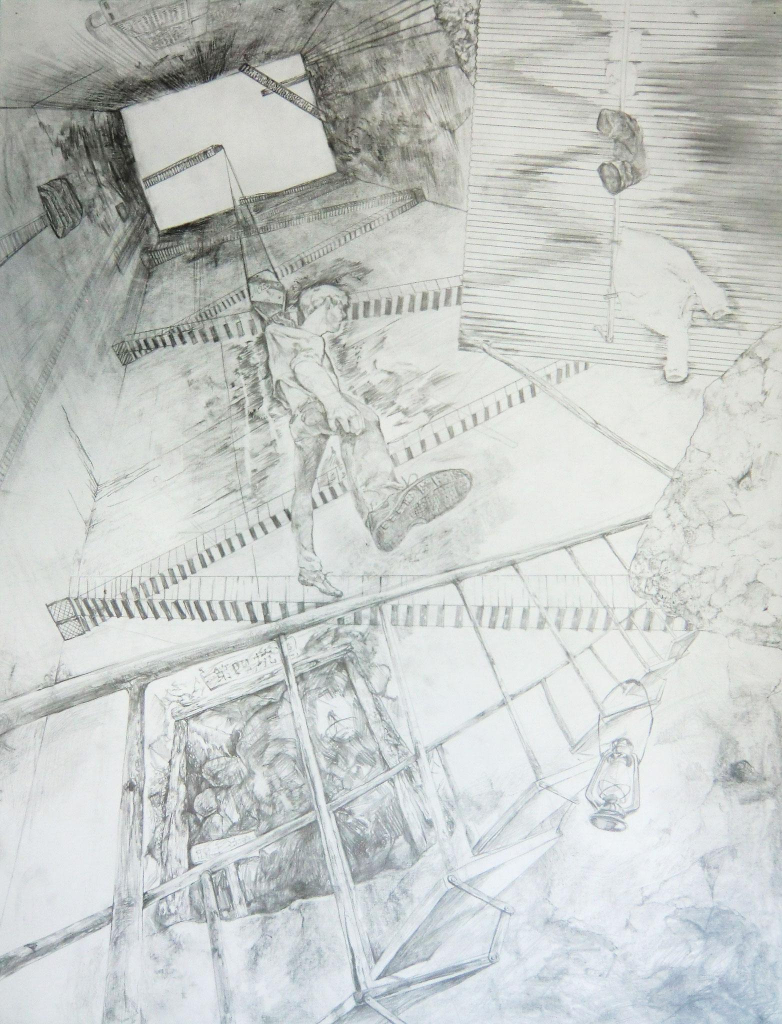 生徒作品39 デッサン<構成> 木炭紙 【油画系】