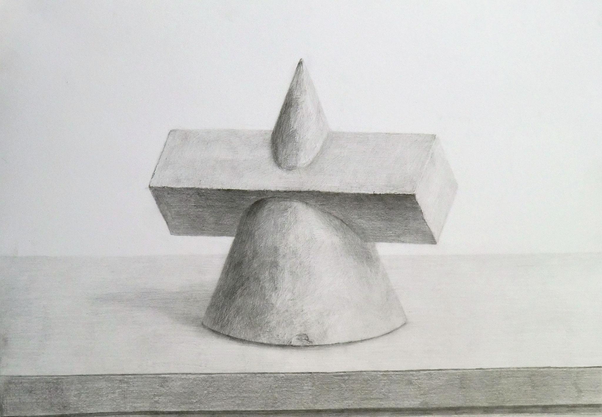 生徒作品70 鉛筆デッサン<相貫体> B3判 白象紙 【日本画系】