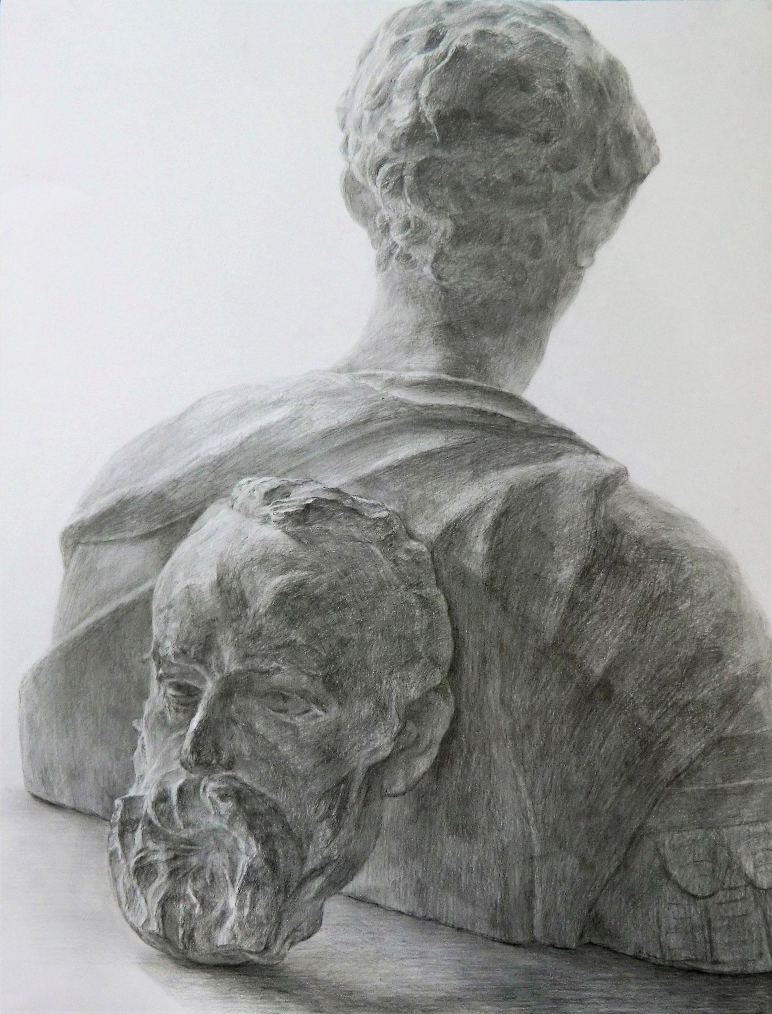 生徒作品16 鉛筆デッサン<聖ジョルジョ像にヴィクトル・ユゴー半面像> 630×480mm 白象紙 【日本画系】