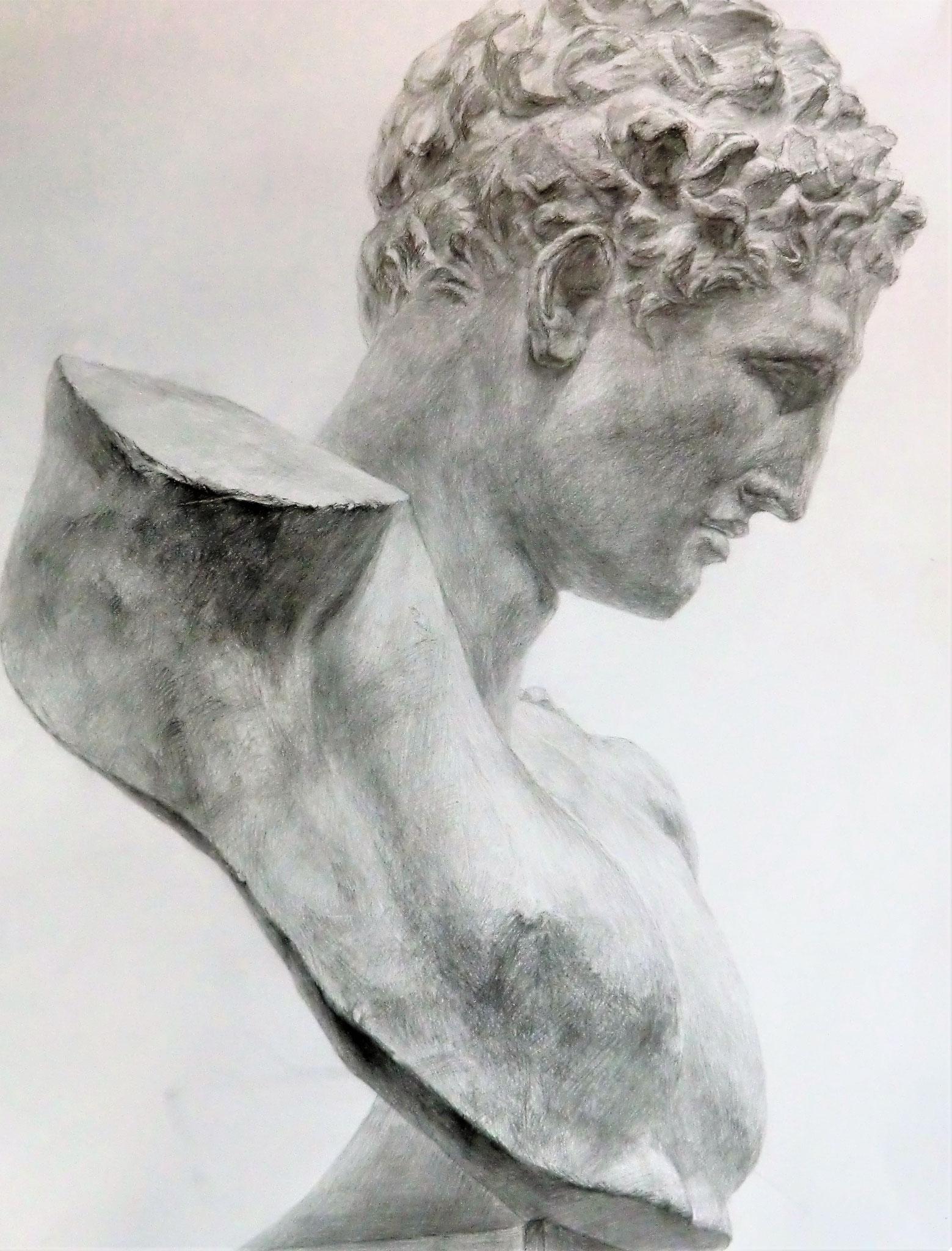 生徒作品13 鉛筆デッサン<ヘルメス像> 630×480mm 白象紙 【日本画系】