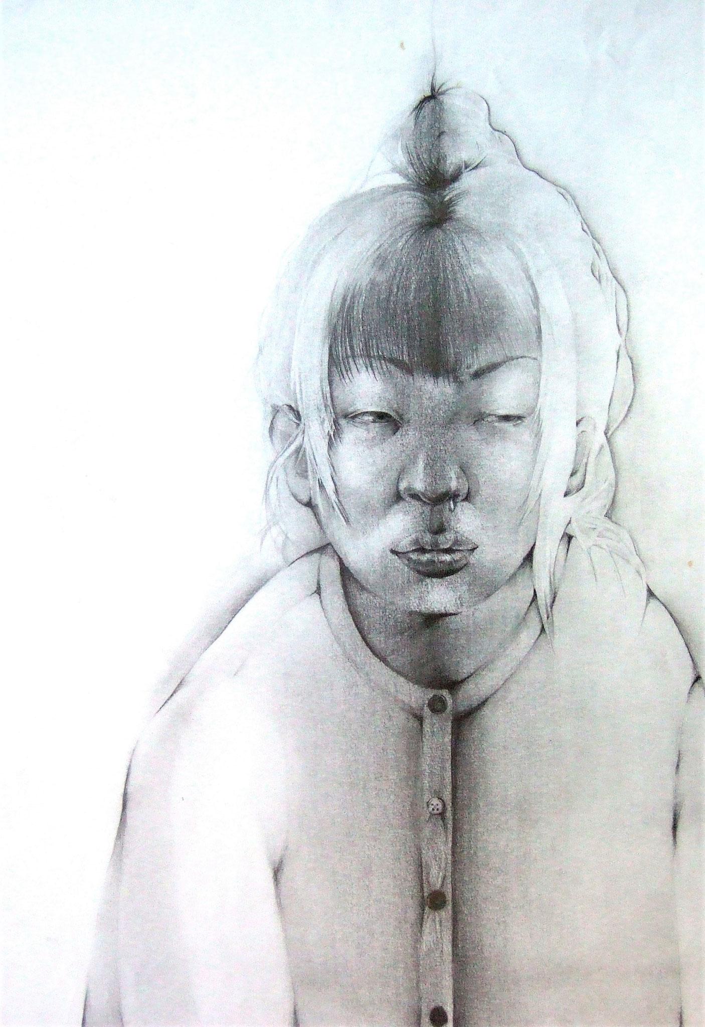 生徒作品24 鉛筆デッサン<イメージ構成:自画像> 木炭紙大 【油画系】