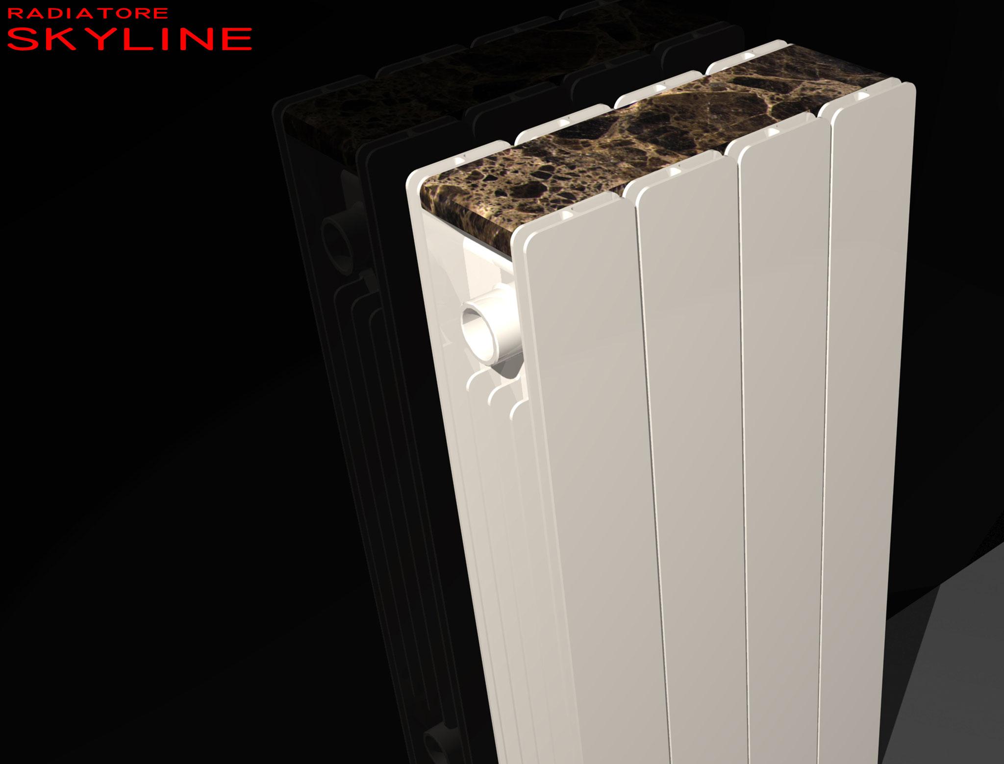 Skyline - Antica usanza popolare la quale posizionava una mensola al di sopra del calorifero. Questa proposta ricalca quella abitudine incastonando pietra o vetro nel radiatore stesso. Studio radiatore 2008 ADHOC Gruppo Ragaini   rendering.