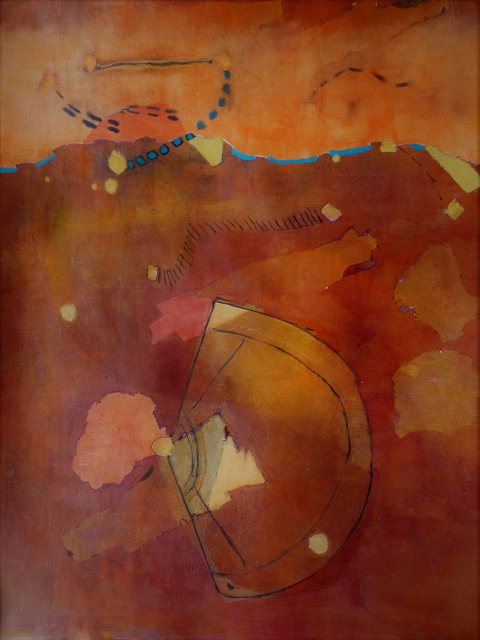 Landing on Mars   ---   2017 - Acrylique sur papier - 50 x 70 cm