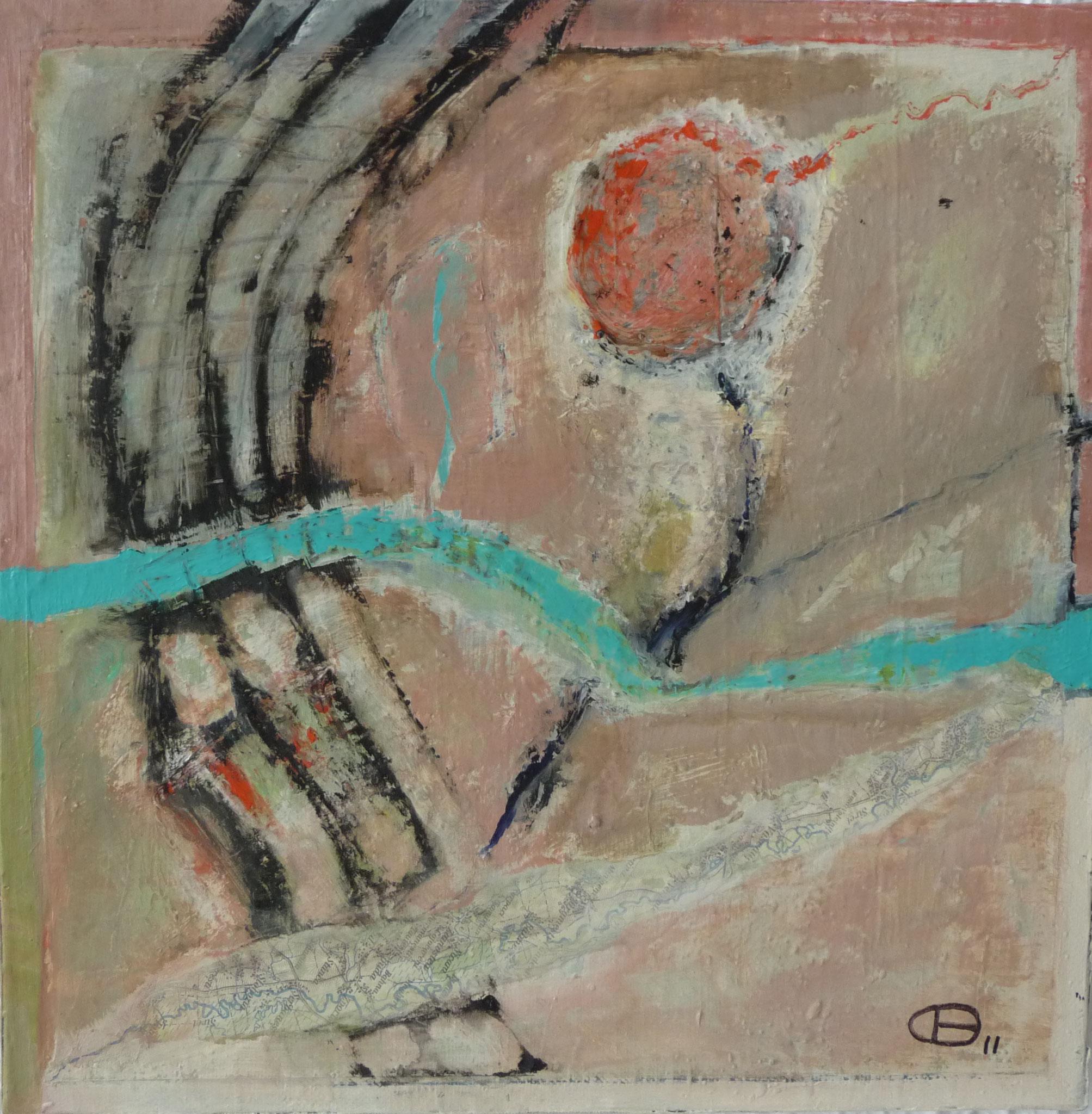 Itinéraire 1   ---   2011 - Acrylique - 30 x 30 cm