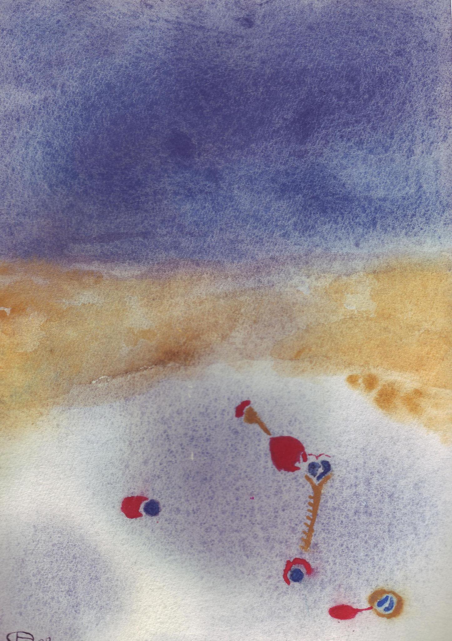 Vol aquatique 7   ---   2008 - Aquarelle - 20 x 30 cm