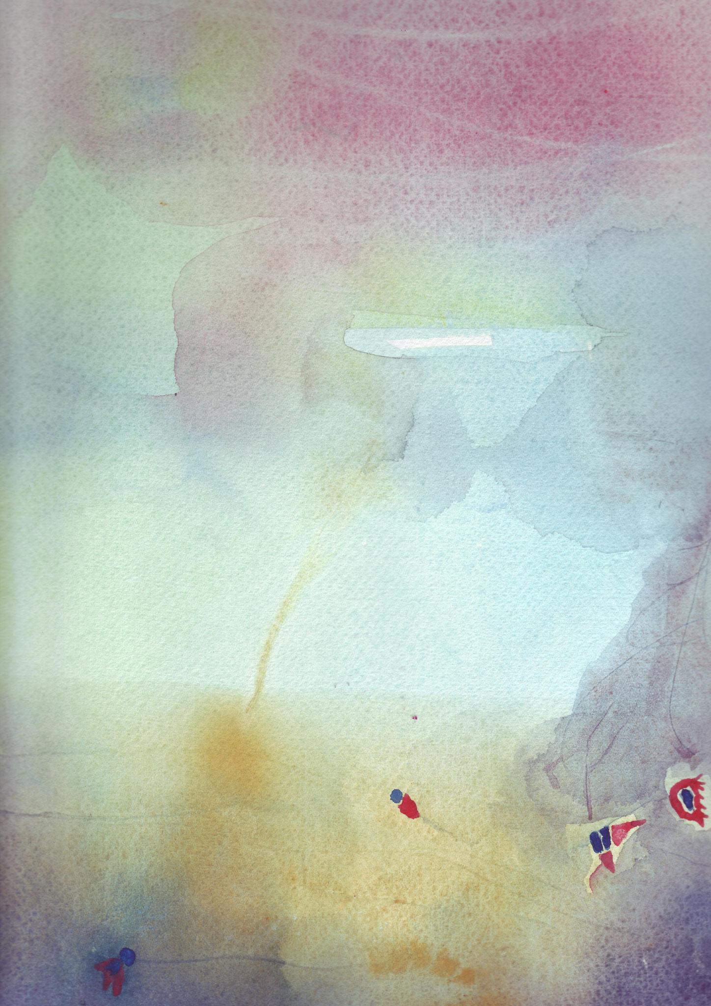 Vol aquatique 3   ---   2008 - Aquarelle - 20 x 30 cm