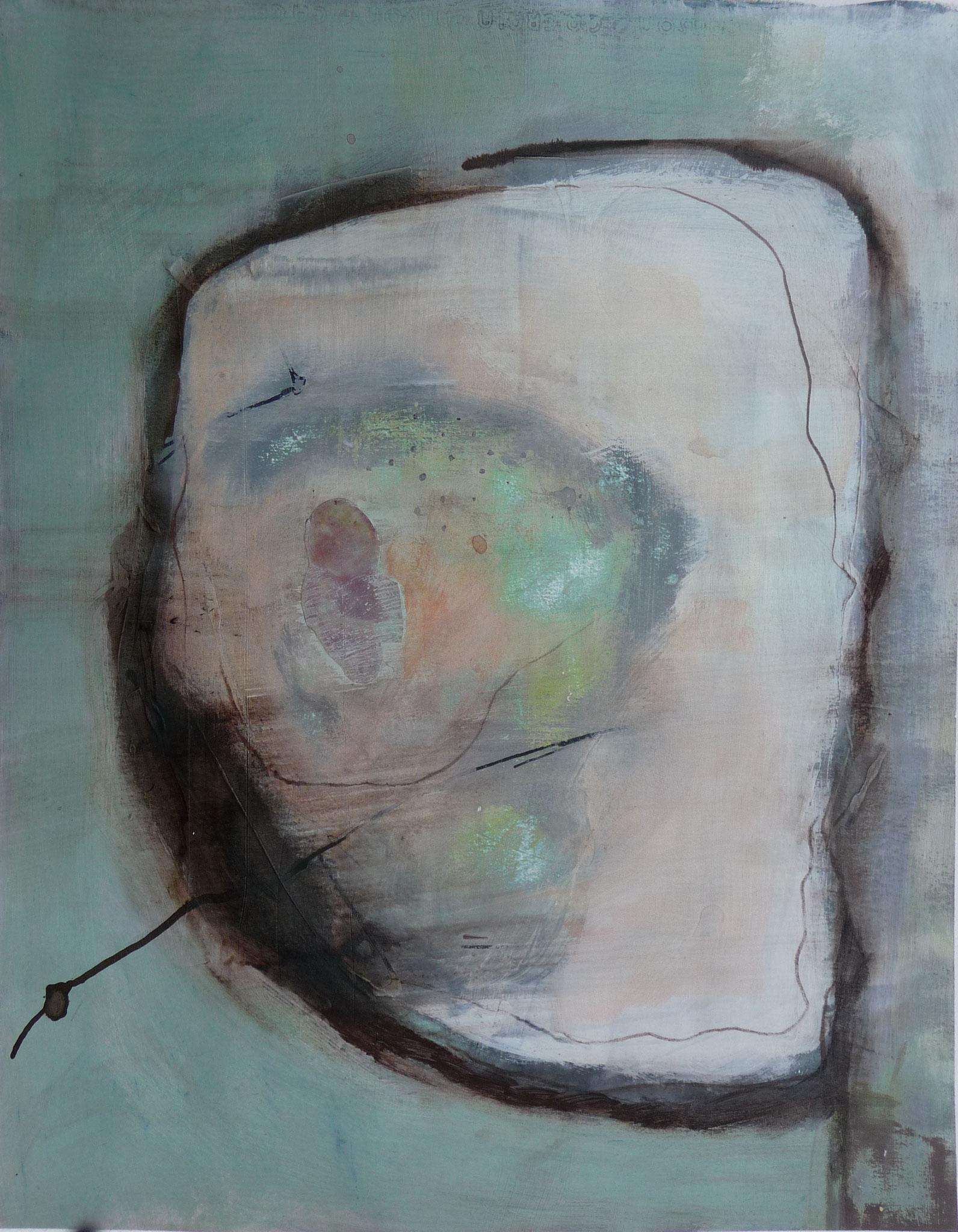 Le nid   ---   2013 - Acrylique sur papier - 60 x 40 cm