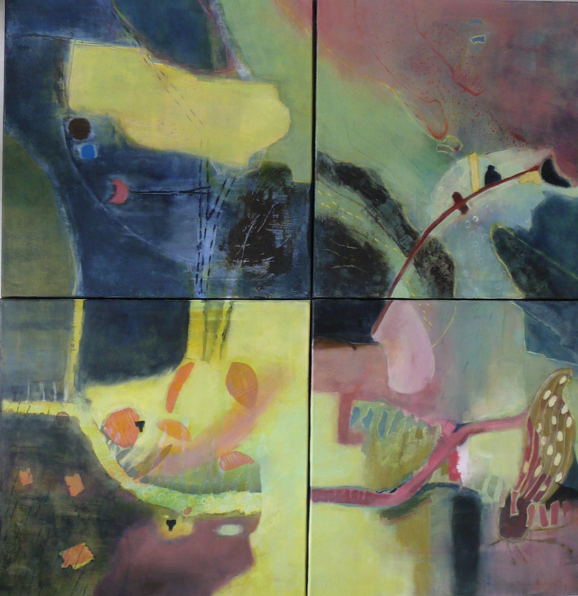 Itinéraires   ---   2014 - Acrylique sur toile - Quadriptyque - 100 x 100 cm