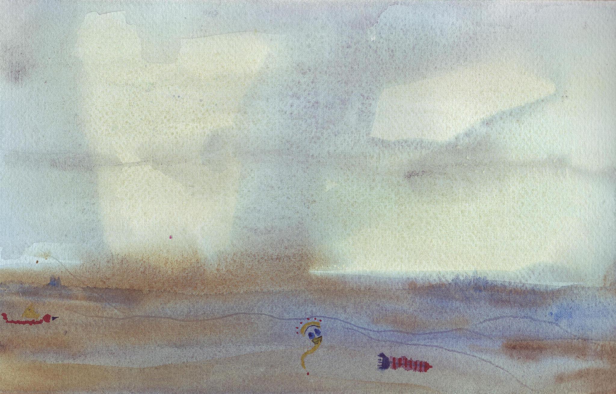 Vol aquatique 4   ---   2008 - Aquarelle - 20 x 30 cm