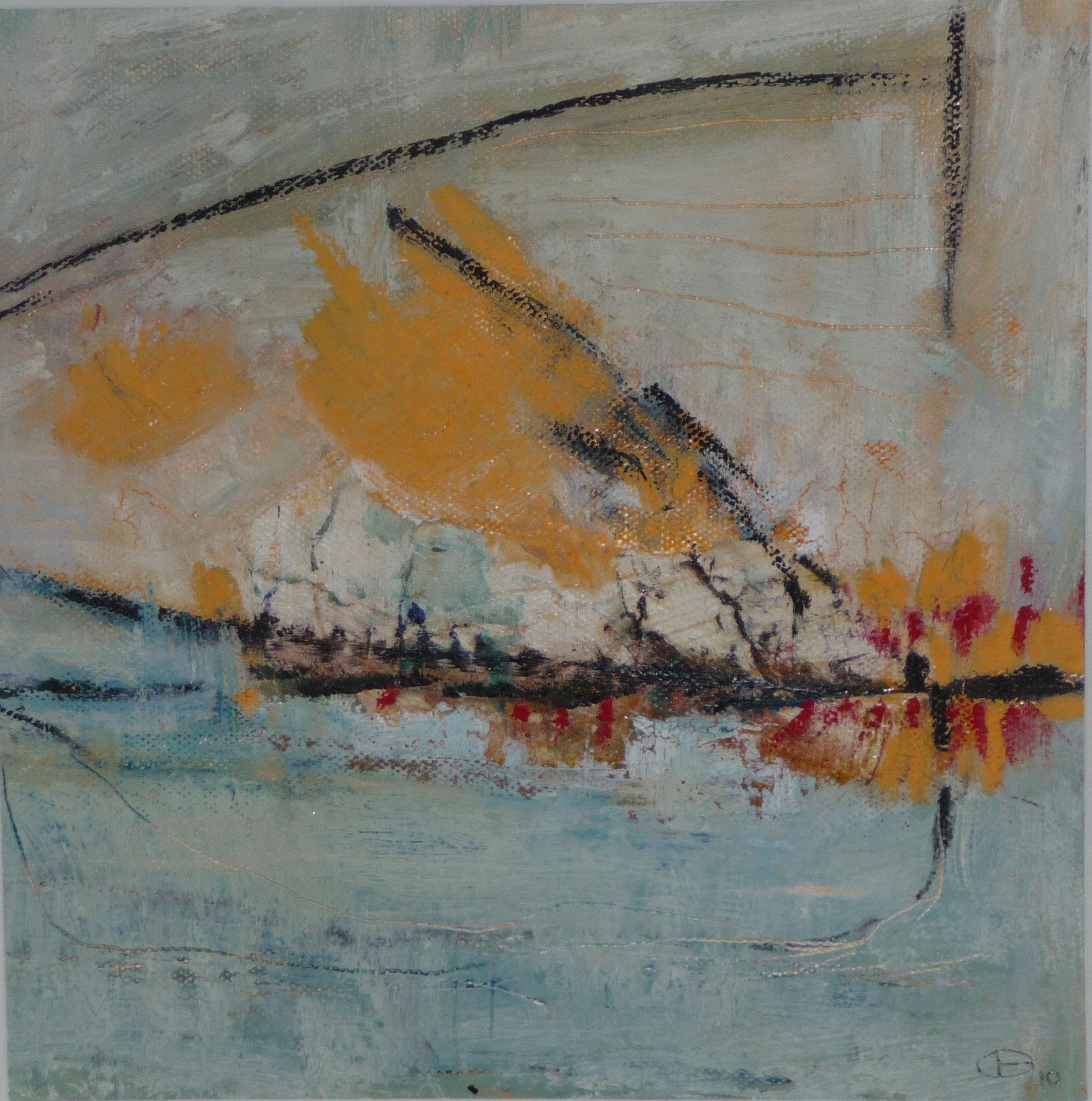 Floating   ---   2011 - Acrylique, collage, pastel à l'huile sur papier - 20 x 20 cm