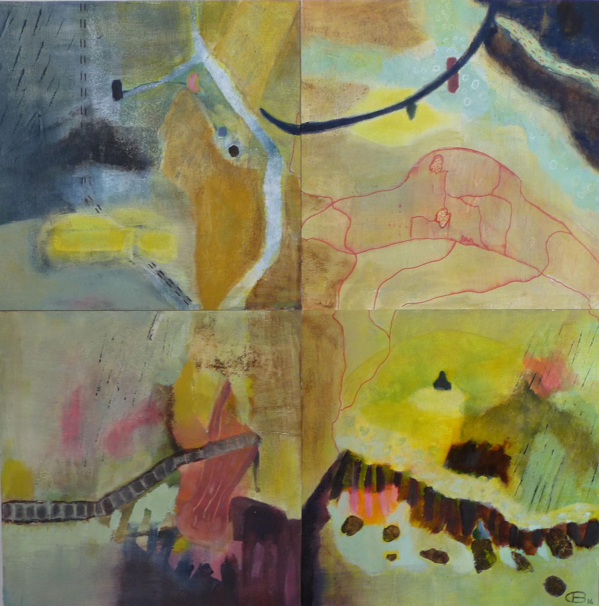 Itinéraires  ---   2014 - Acrylique sur papier - Quadrityque - 60 x 60 cm