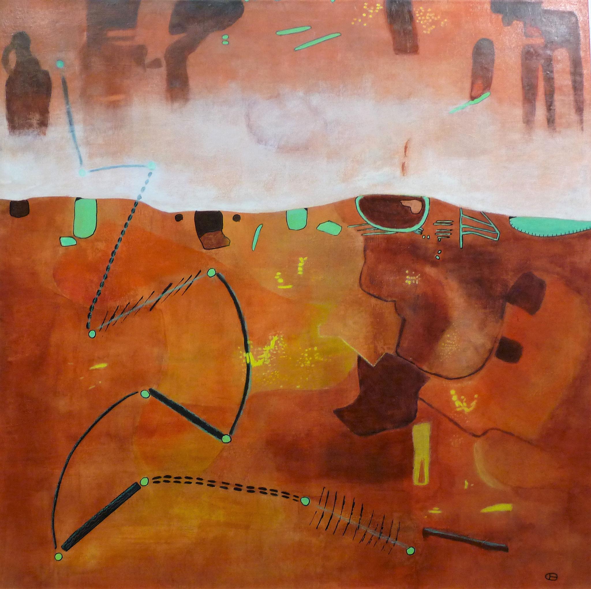 Landing on Mars   ---   2017 - Acrylique sur toile - 100 x 100 cm