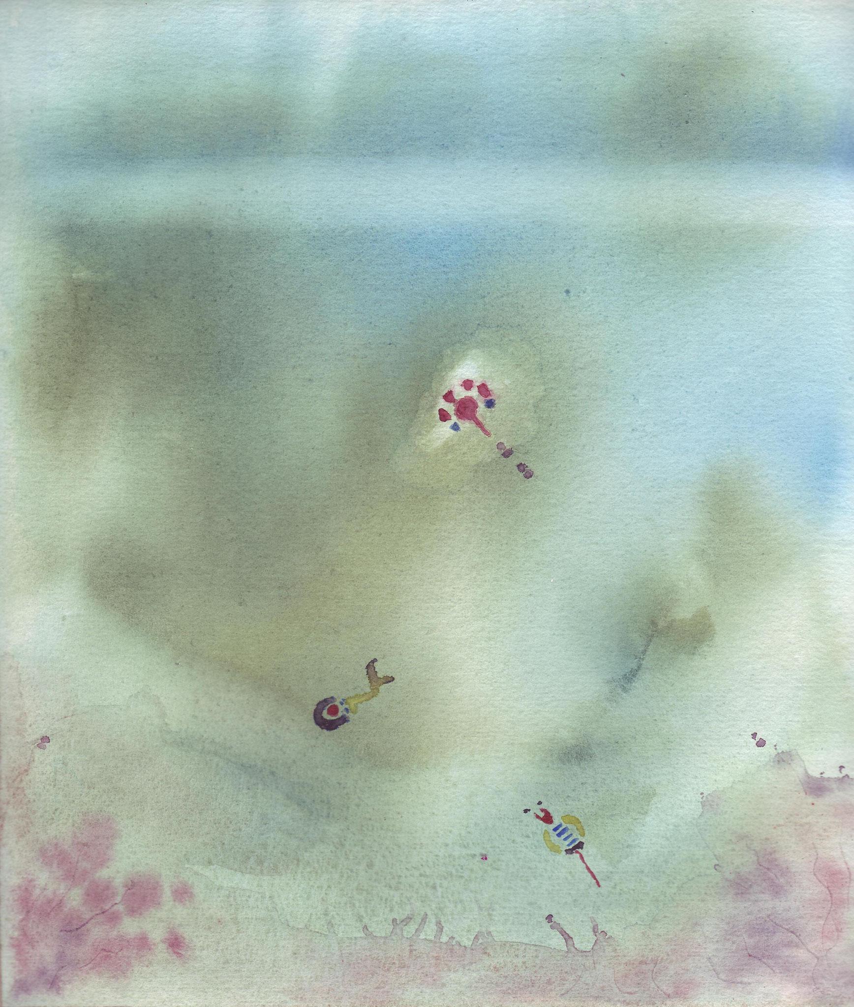 Vol aquatique 2   ---   2008 - Aquarelle - 20 x 30 cm