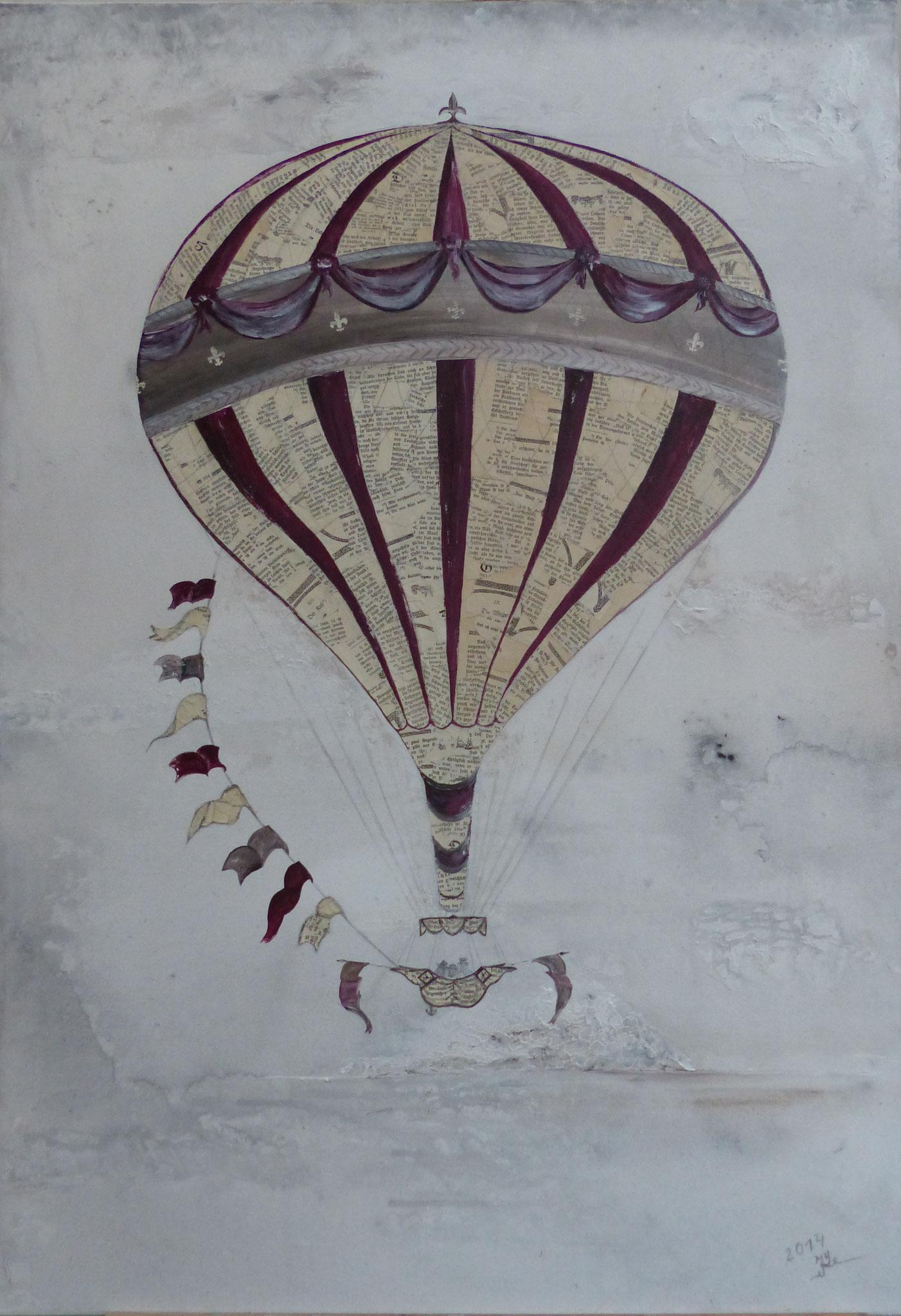 Acrylcollage, Traumreise/ 70 x 100 cm