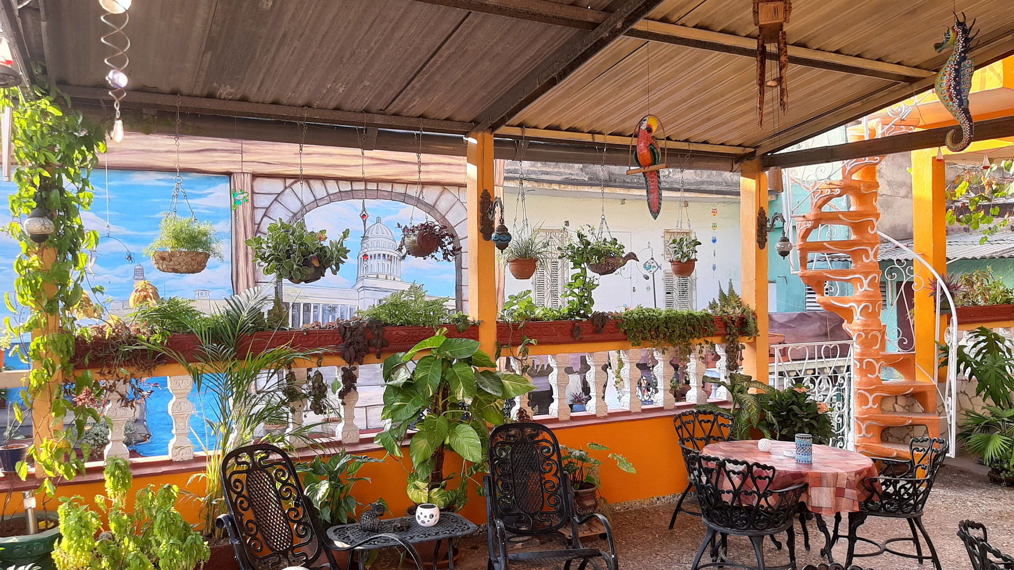 Terrace of Casa Sol y Salsa with view to terrace of Casa Sol y Sombra