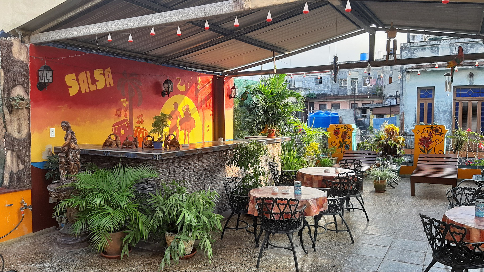 Terrace of Casa Sol y Salsa with view to bar