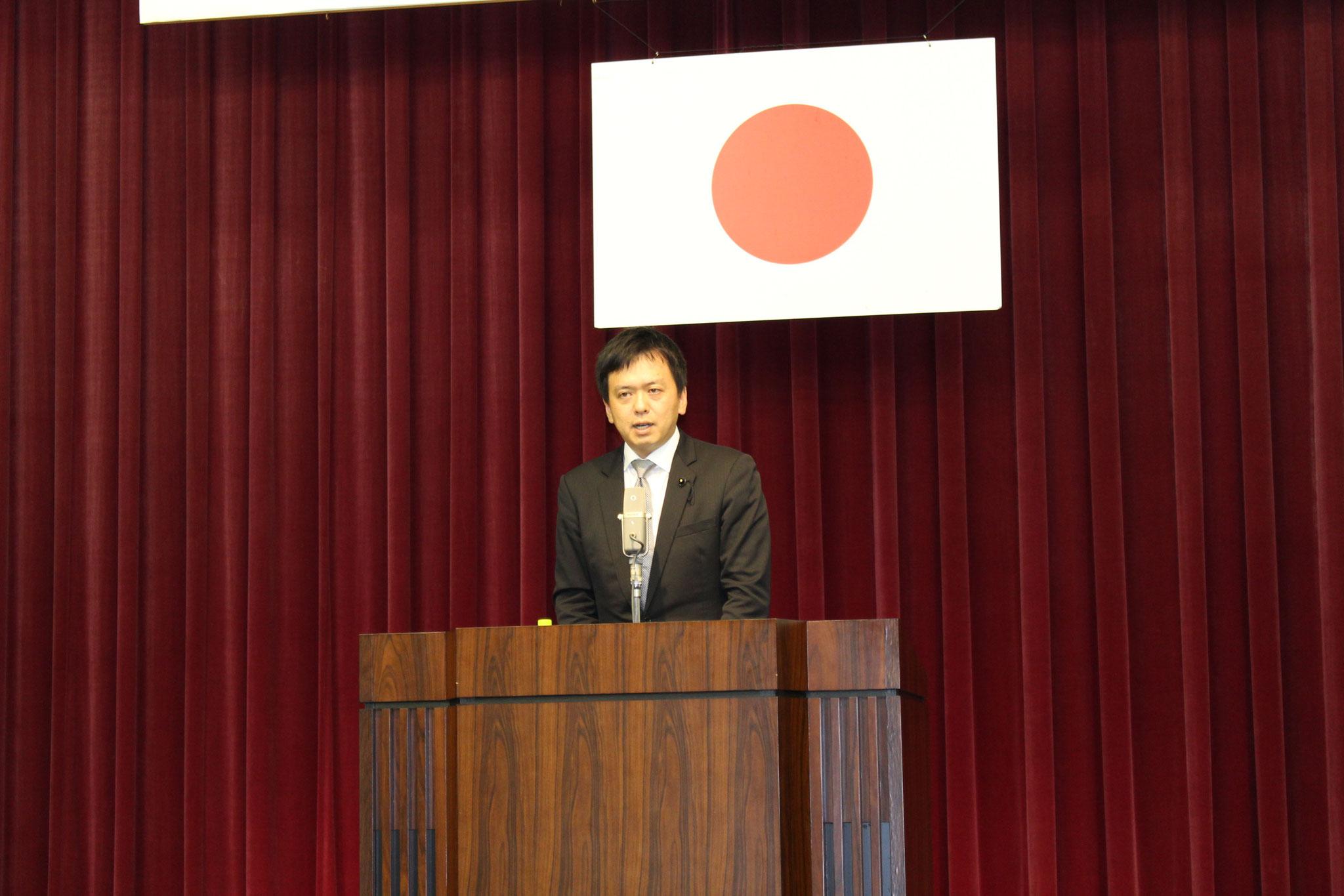 広島県議会議員 緒方直之様より御挨拶をいただきました。