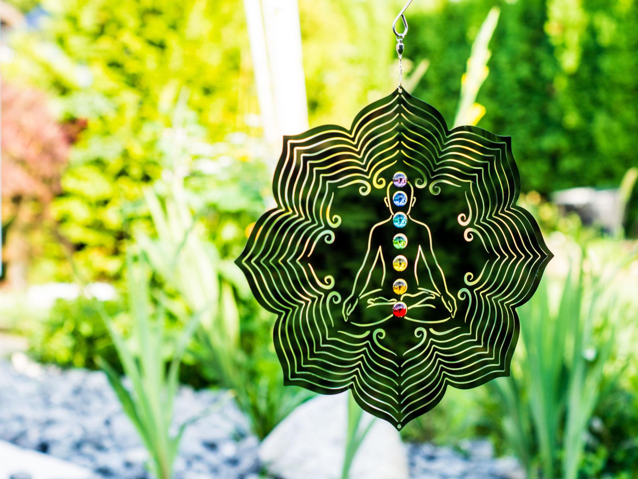 Edelstahlwindspiel Chakra Lotus