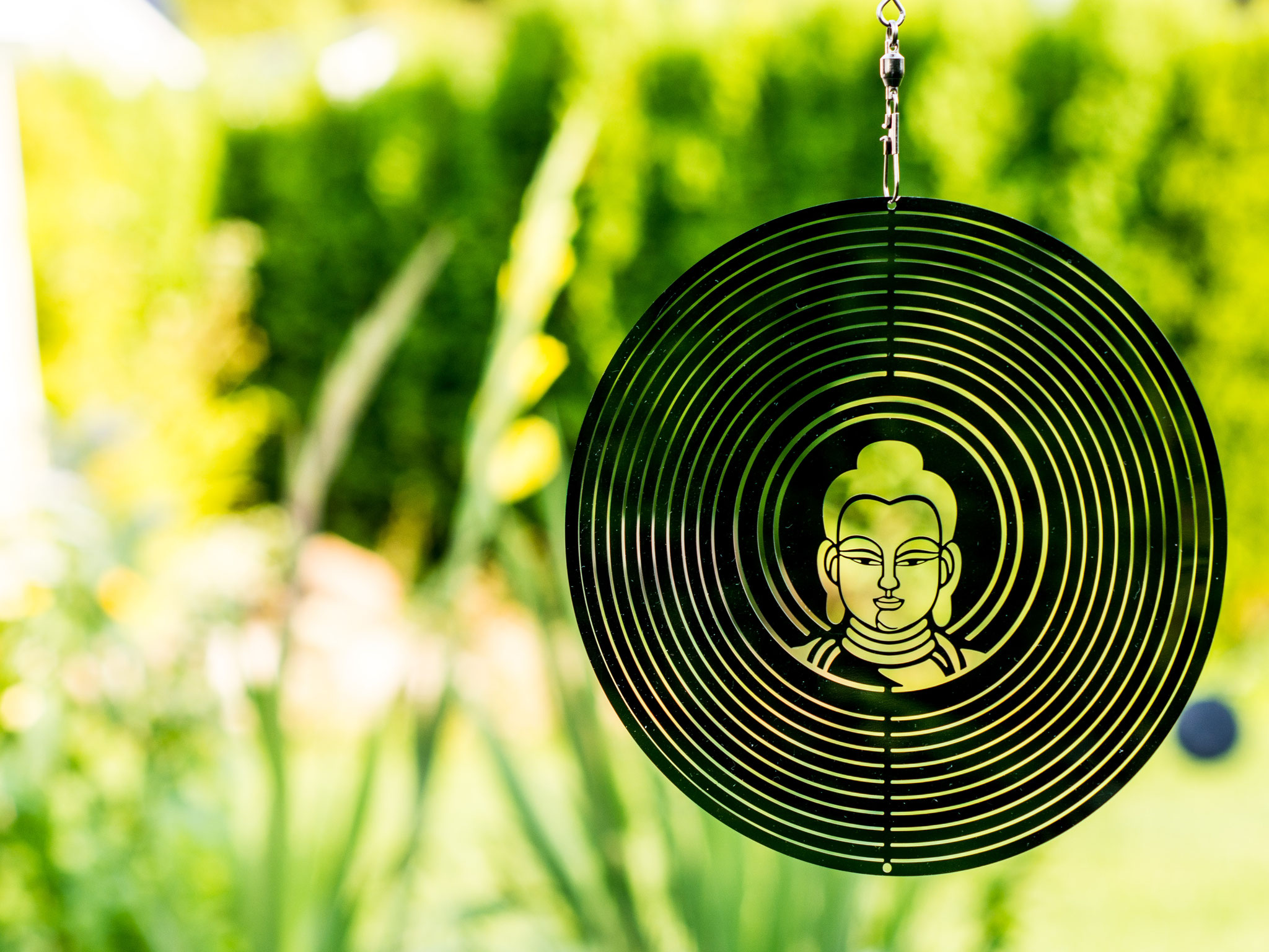 Edelstahlwindspiel Buddha