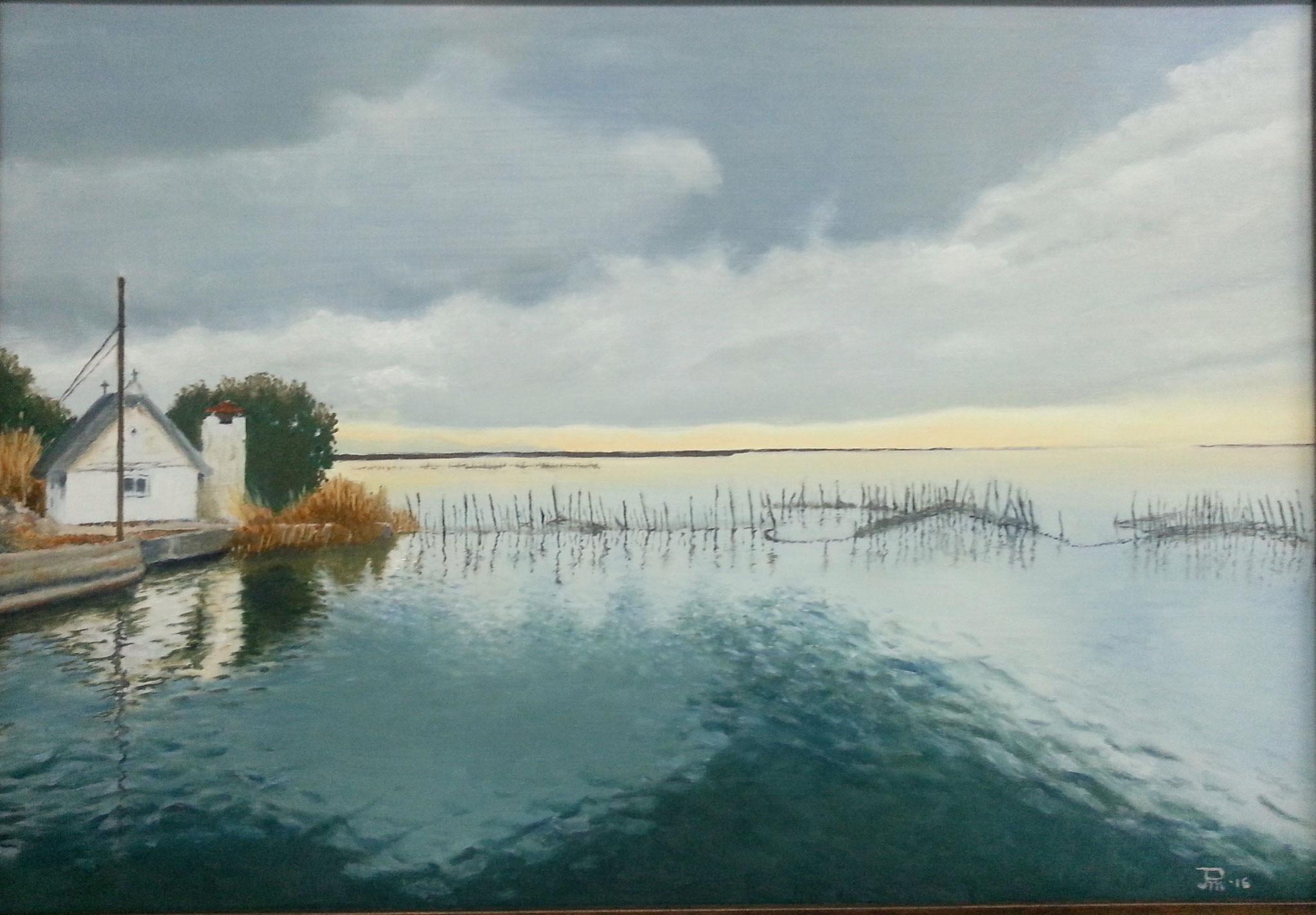 Barraca en el lago nublado