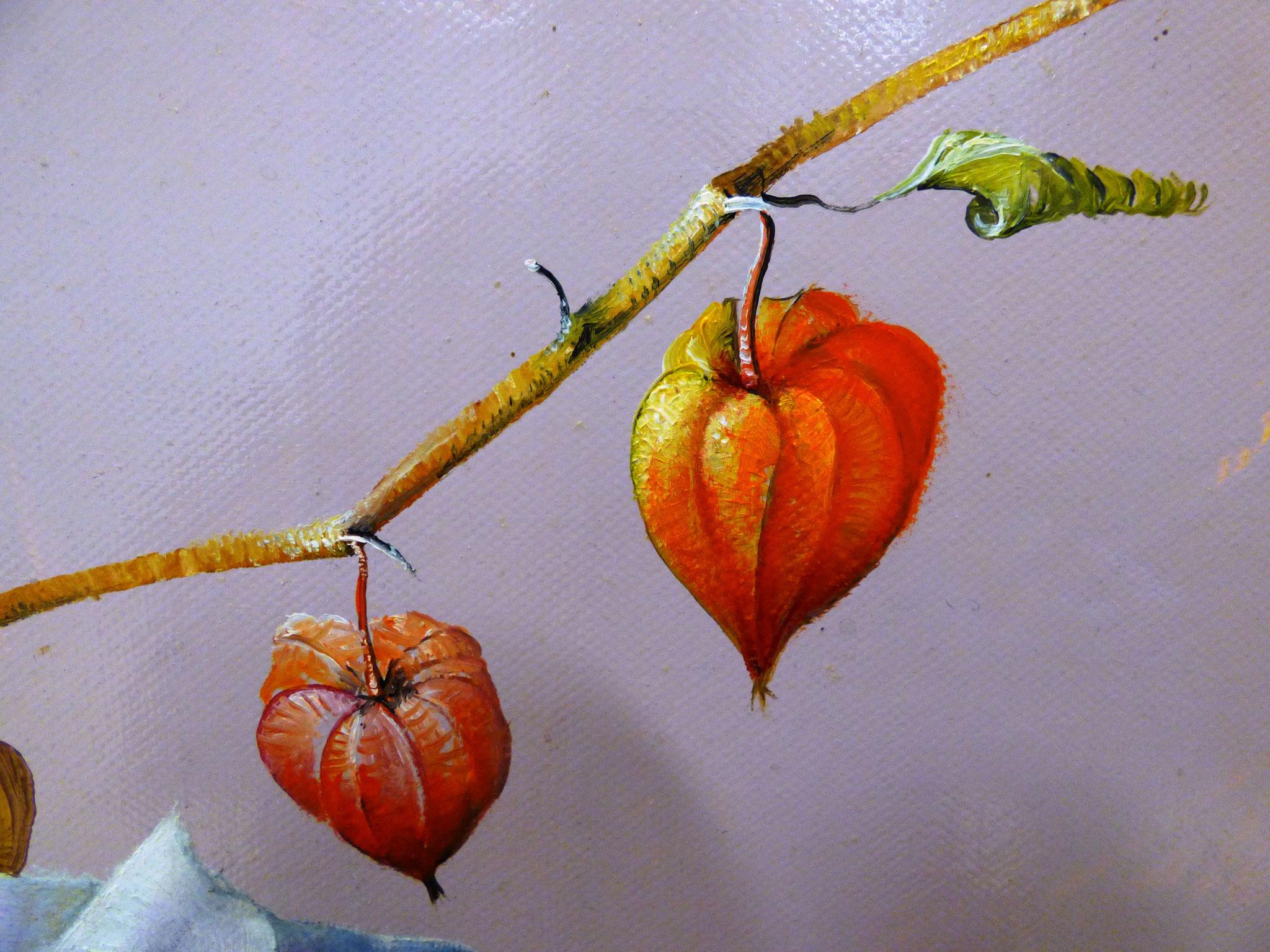 particolare Giuseppe Coda Zabetta feste con alchechengi olio su tela 60x80