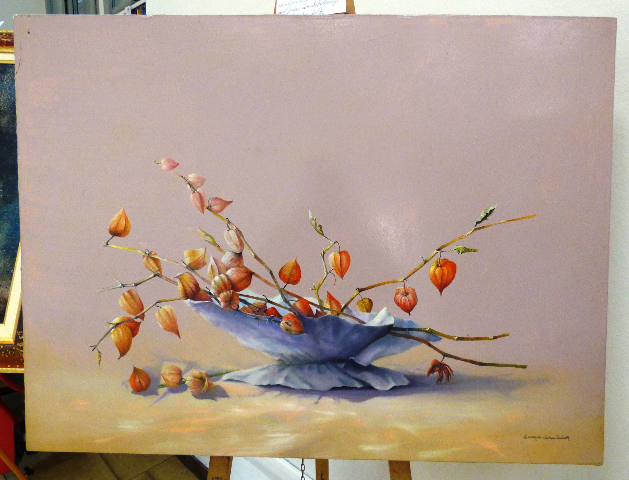 Giuseppe Coda Zabetta feste con alchechengi olio su tela 60x80