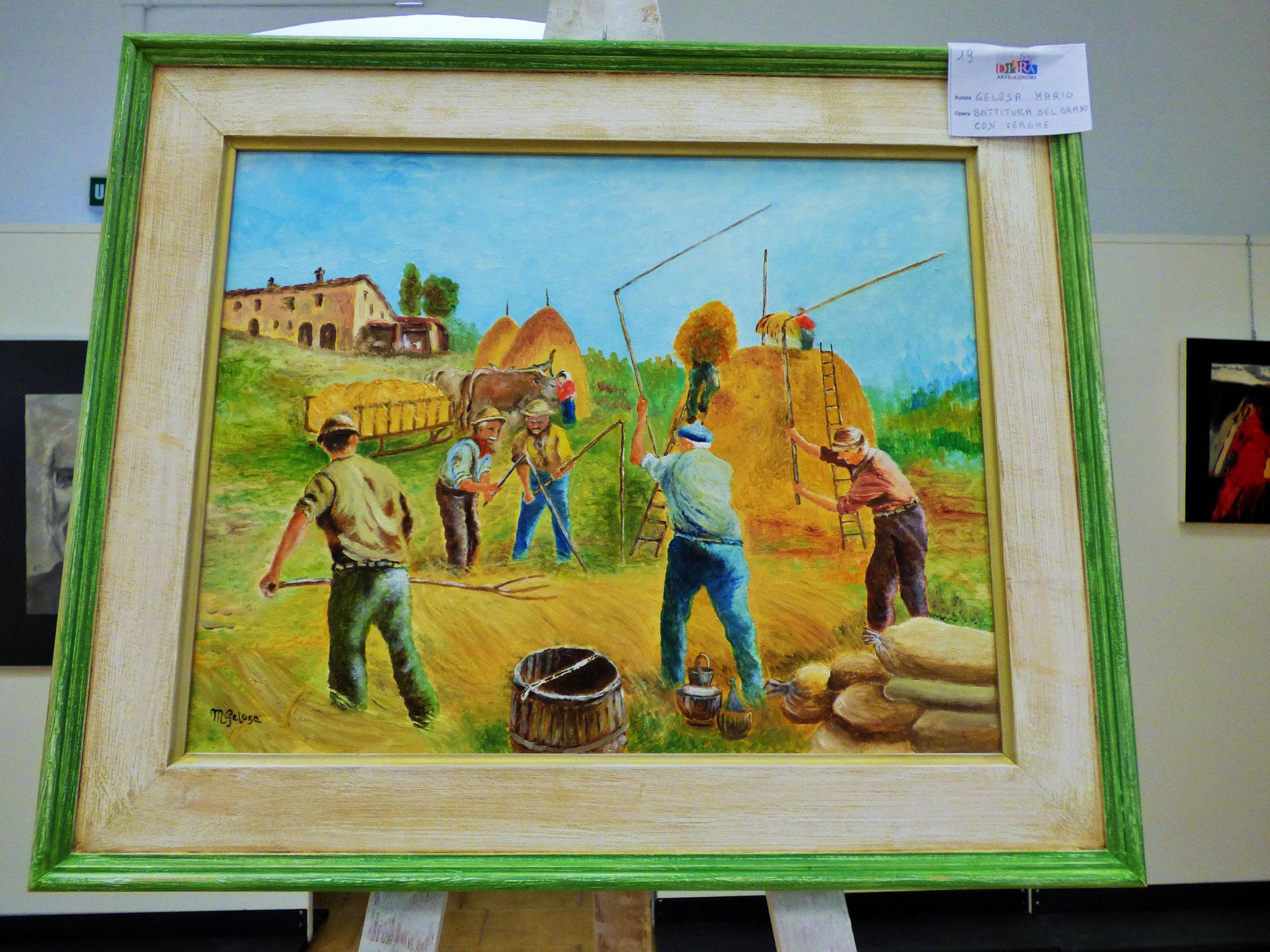 Rivergaro: DIARA Arte & Colori - IV concorso di Pittura ed.2018 - Gelosa Mario - Battitura del grano con verghe