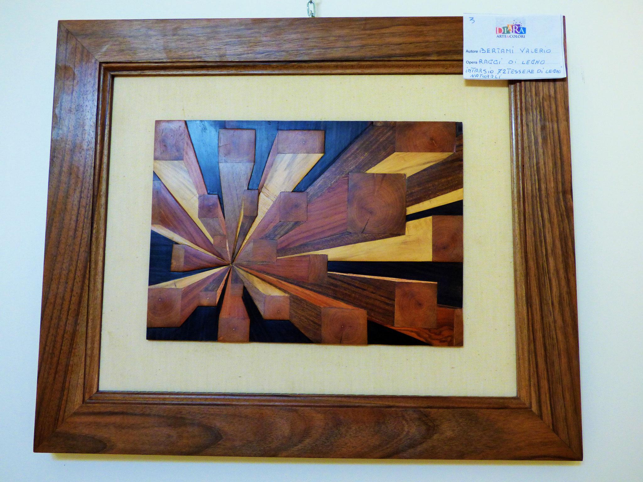 Rivergaro: DIARA Arte & Colori - IV concorso di Pittura ed.2018 - Bertani Valerio - Raggi di Legno - intarsio 72 tessere di legni naturali