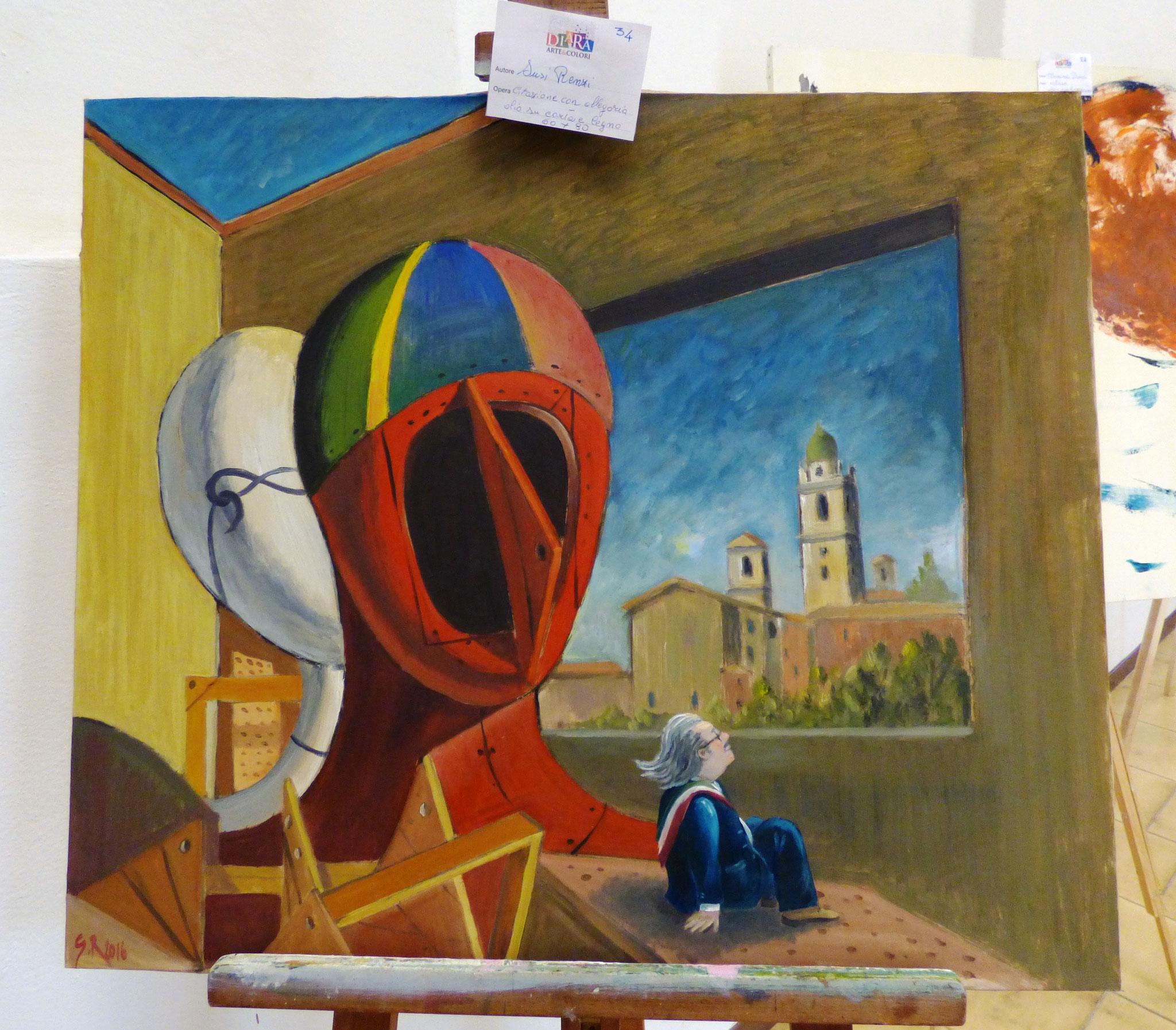Susy Renzi citazione con allegria olio su carta e legno 60x80