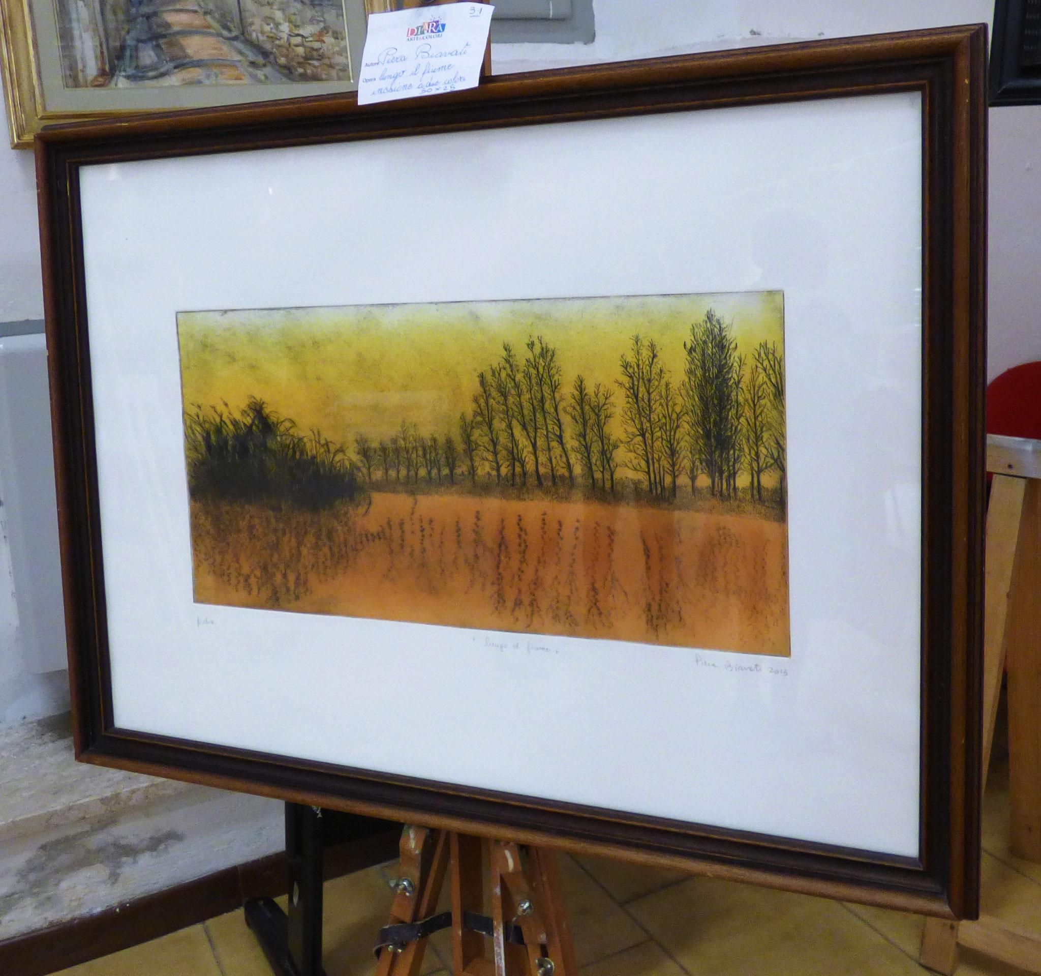 Piera Biavati lungo il fiume incisione a due colori 50x25