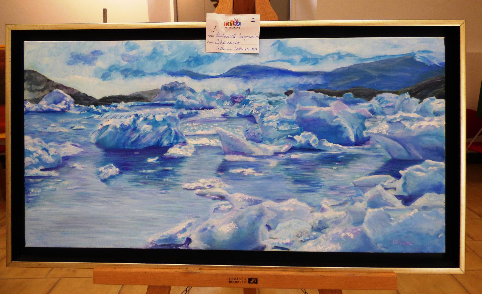 Antonella Signaroldi ghiacciaio olio su tela 40x80