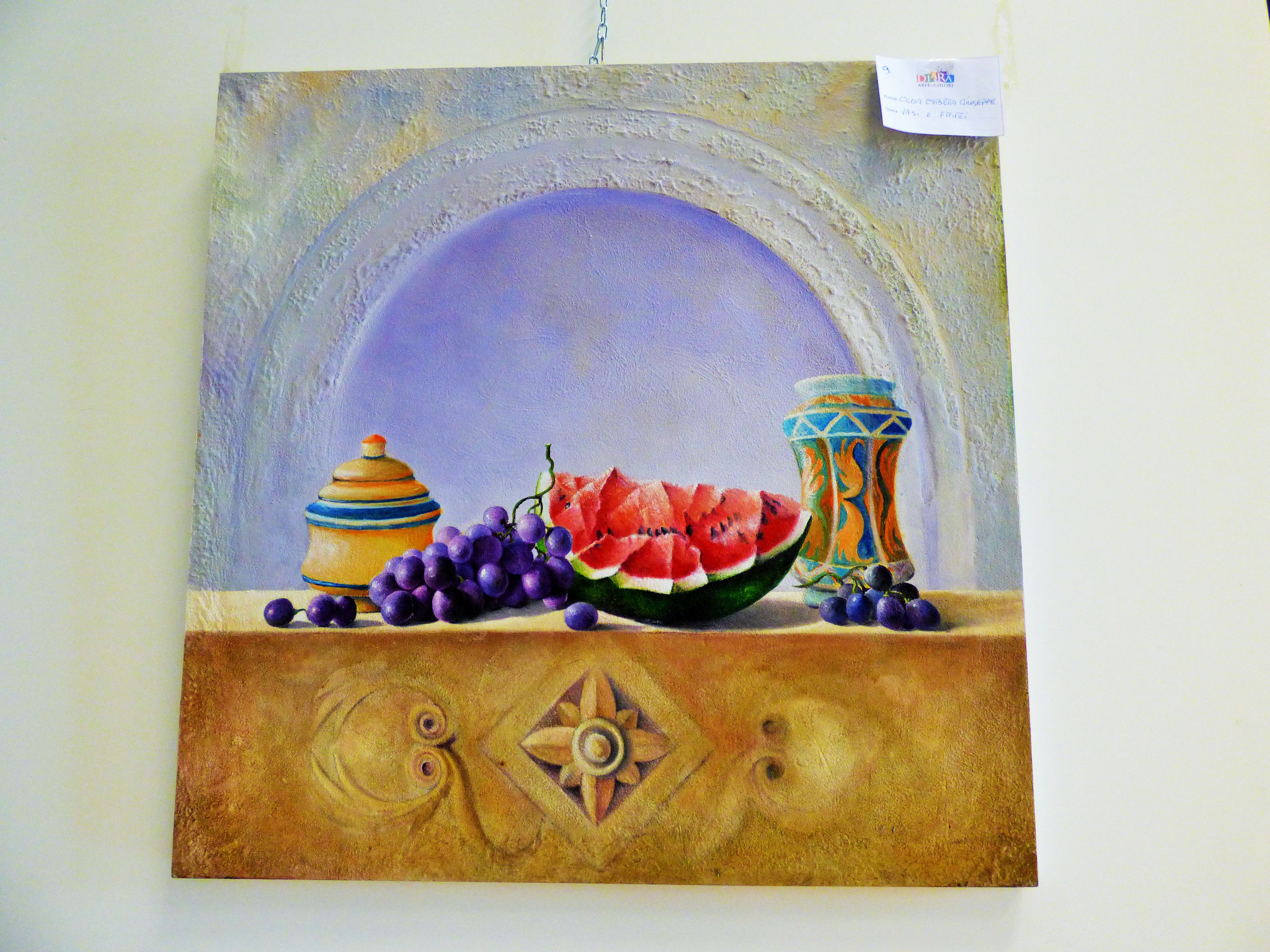 Rivergaro: DIARA Arte & Colori - IV concorso di Pittura ed.2018 - Coda Zabetta Giuseppe - Vasi e Frutti