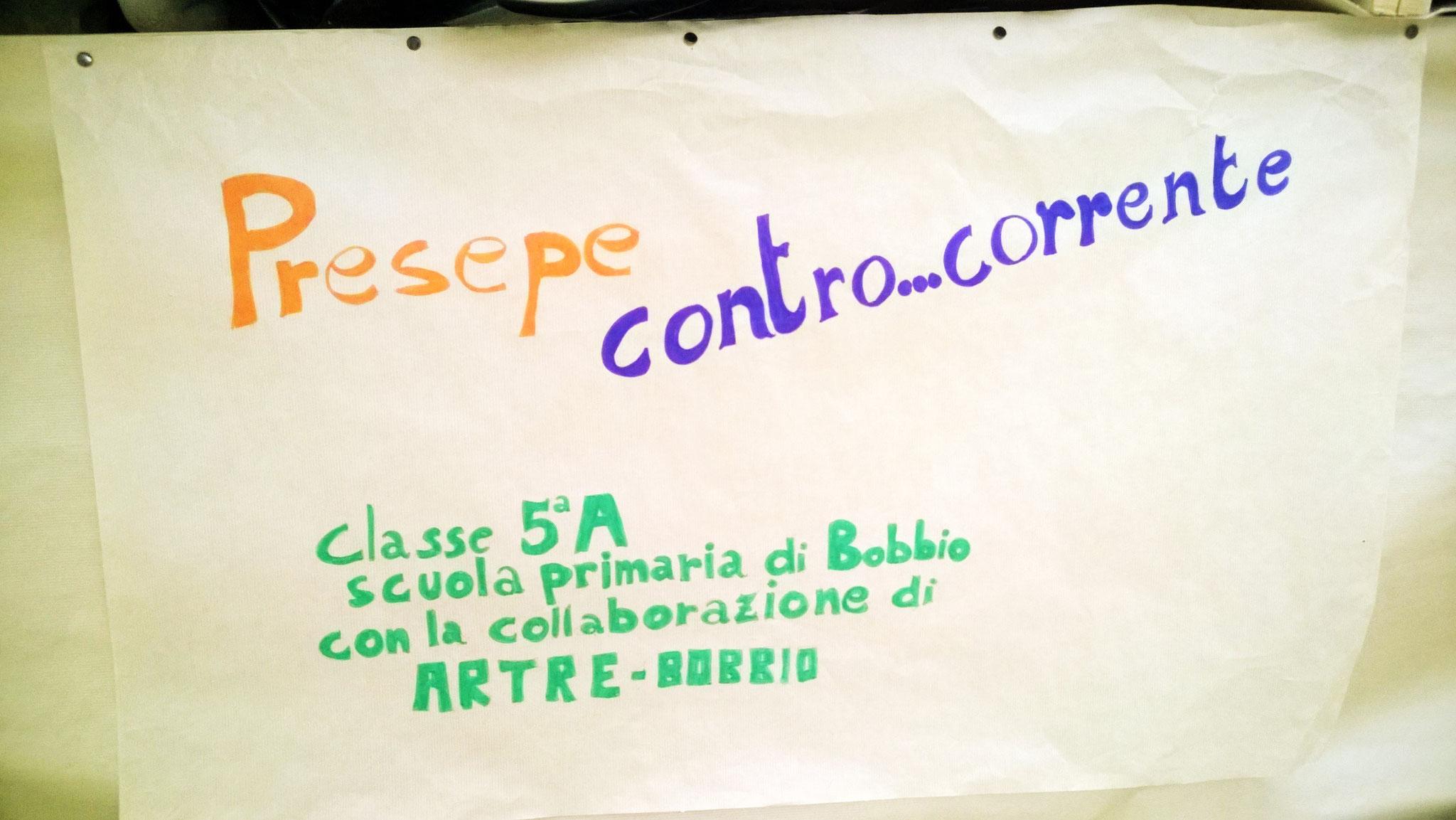 """Presepe """"Contro ... Corrente""""  realizzato con gli alunni della  5 A di Bobbio"""