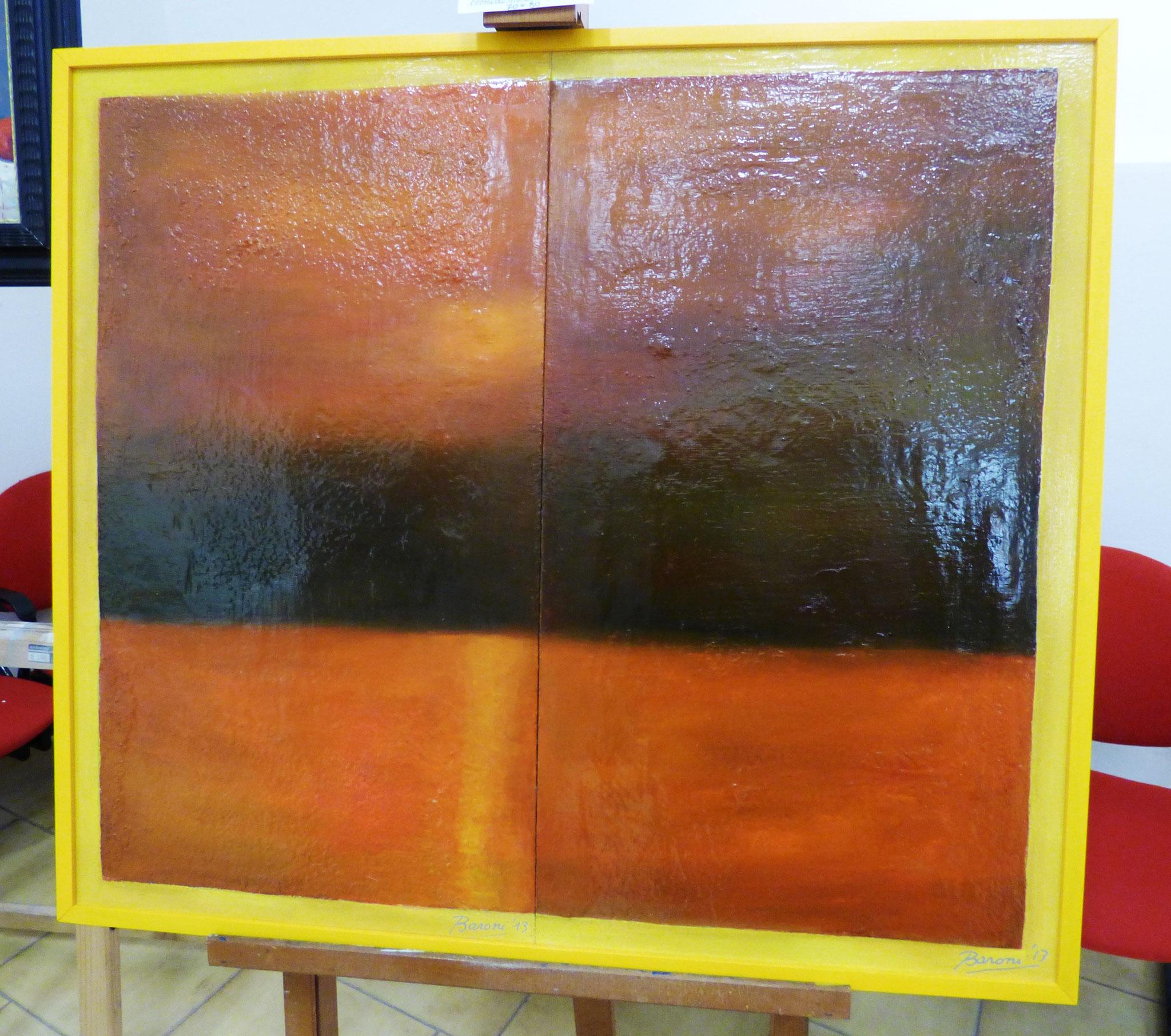 Giuseppe Baroni paesaggio tecnica mista su tavola 70x80
