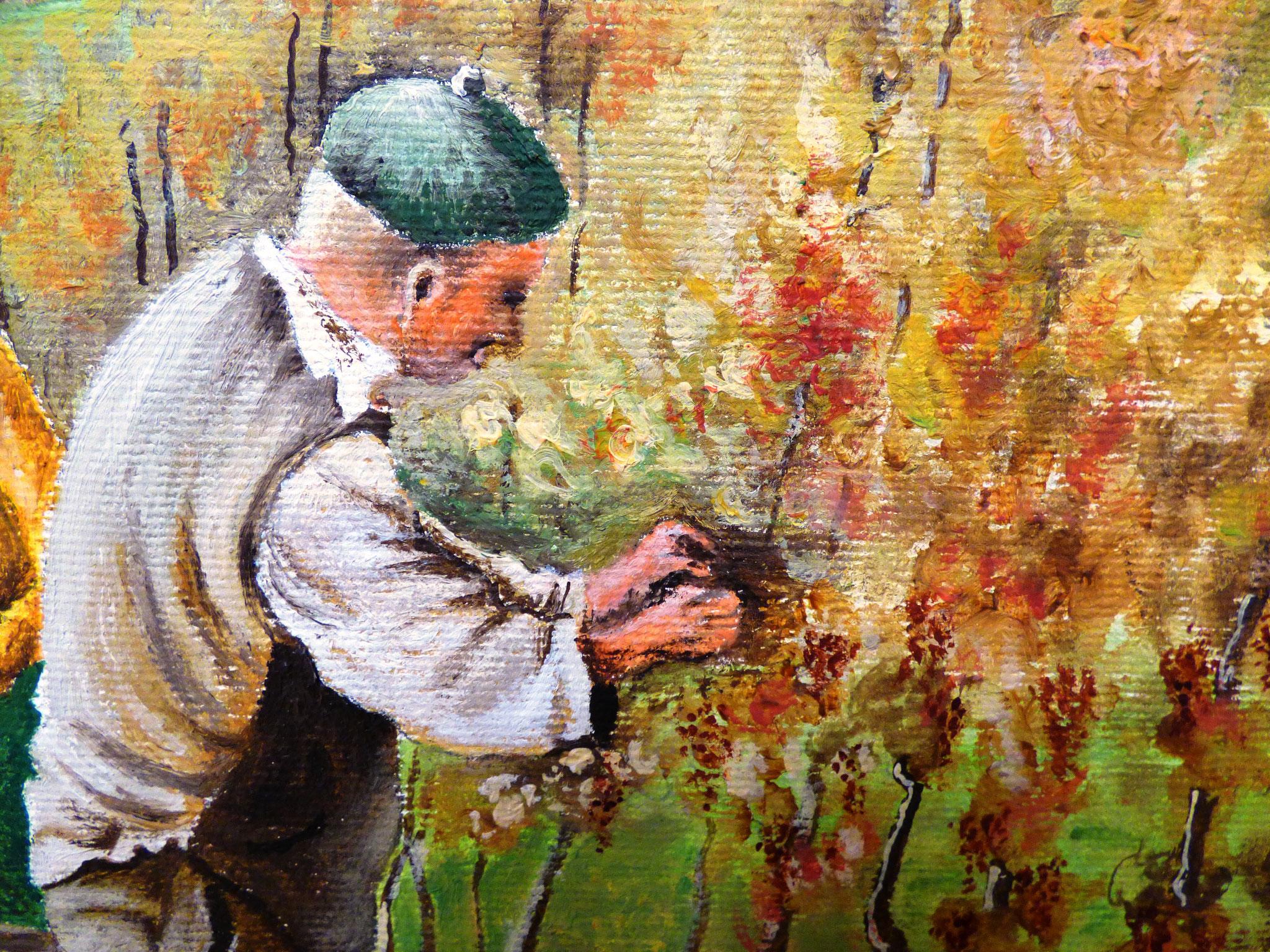 particolare Mario Gelosa vendemmia olio su tela 40x50