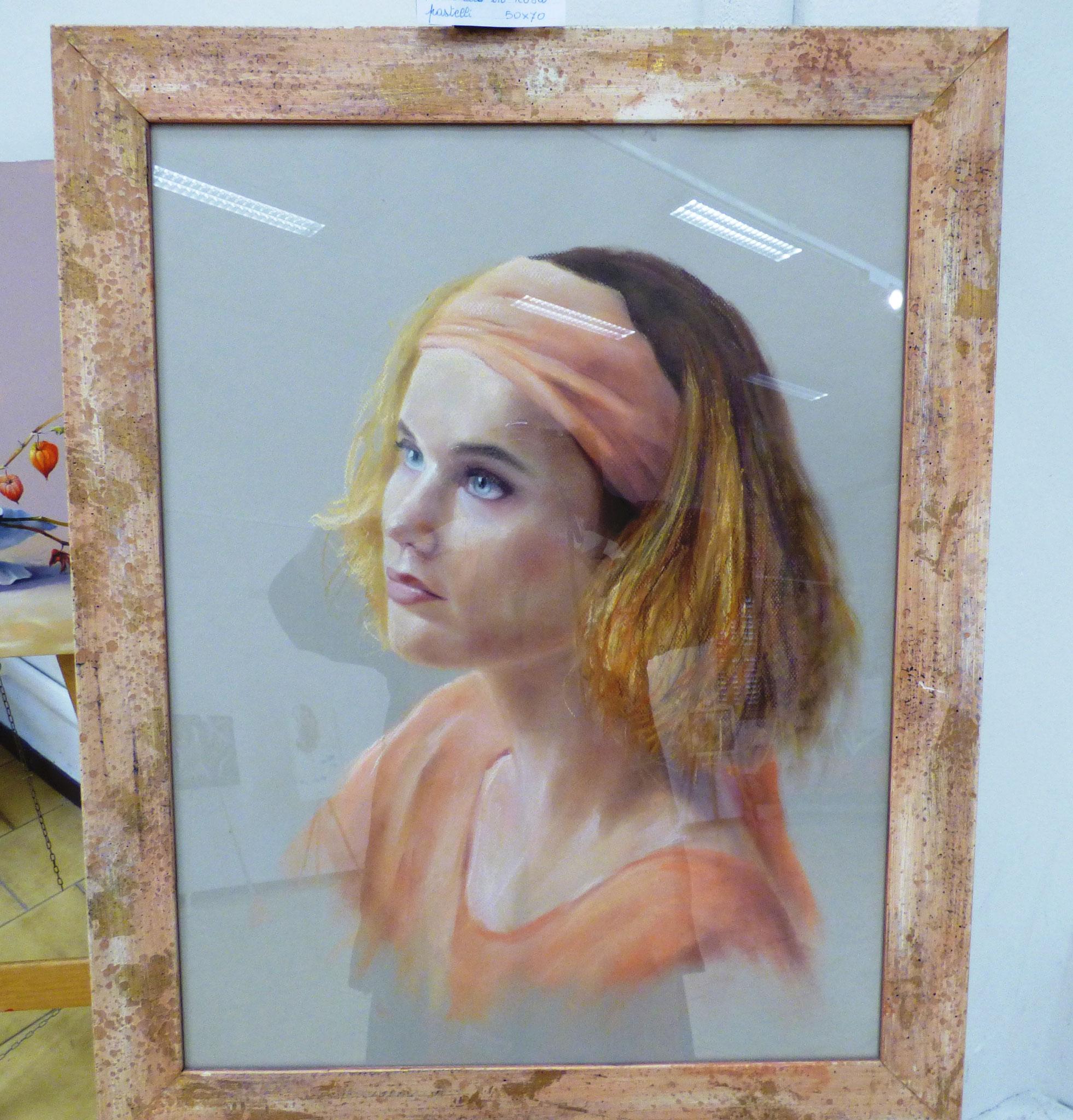 Filippo Razzini ritratto in rosa pastelli 50x70