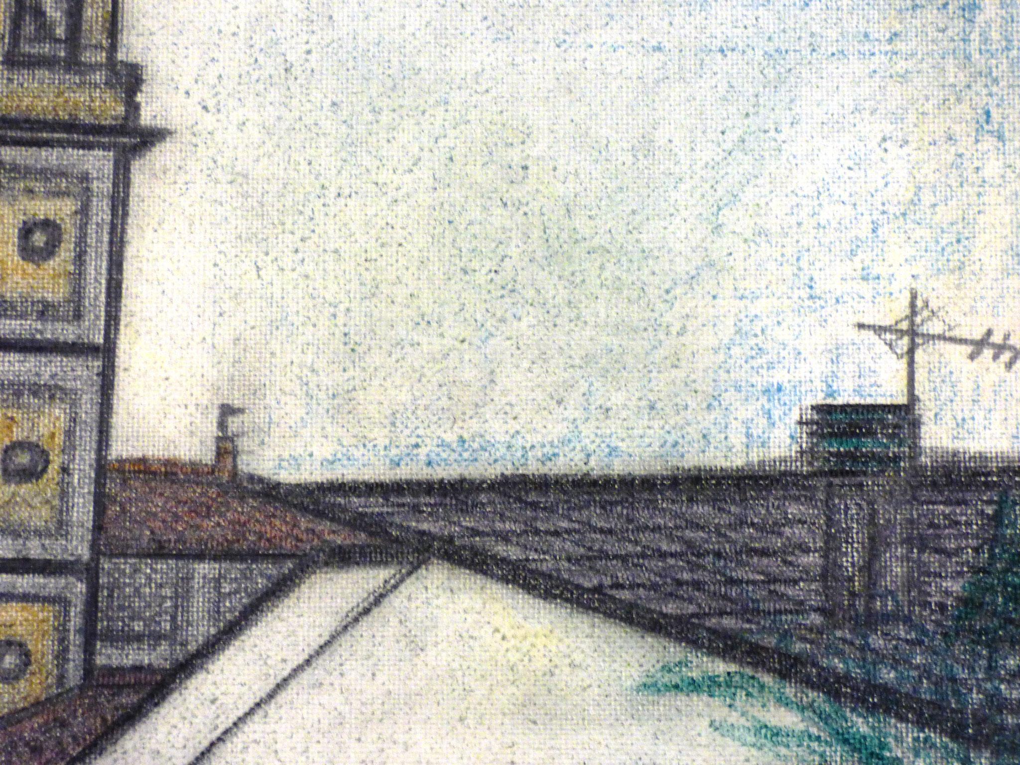 particolare Claudio Faccini scorcio di Rallio di Montechiaro matita e pastelli colorati 30x40