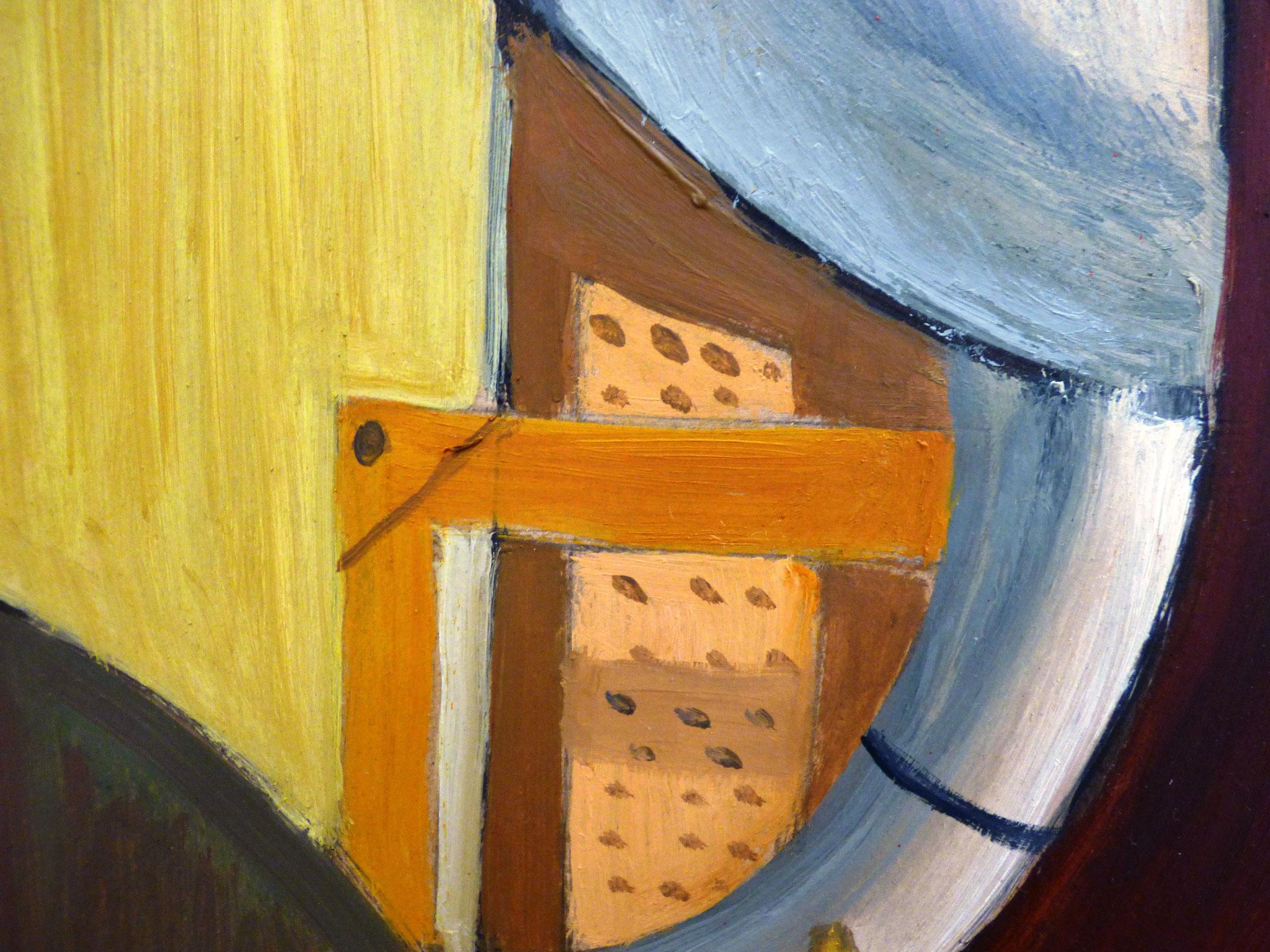 particolare Susy Renzi citazione con allegria olio su carta e legno 60x80