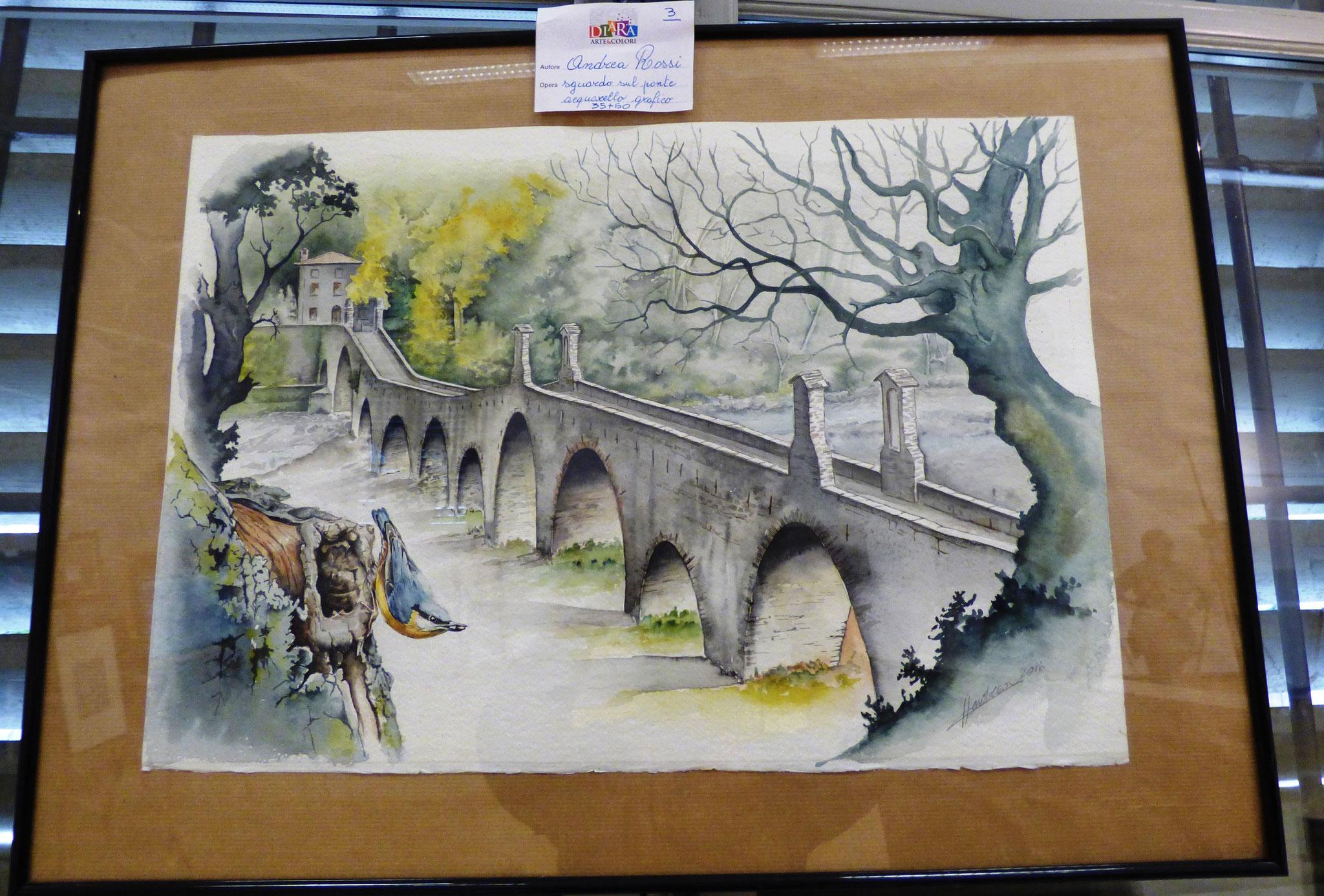 Andrea Rossi sguardo sul ponte acquarello grafico 35x60