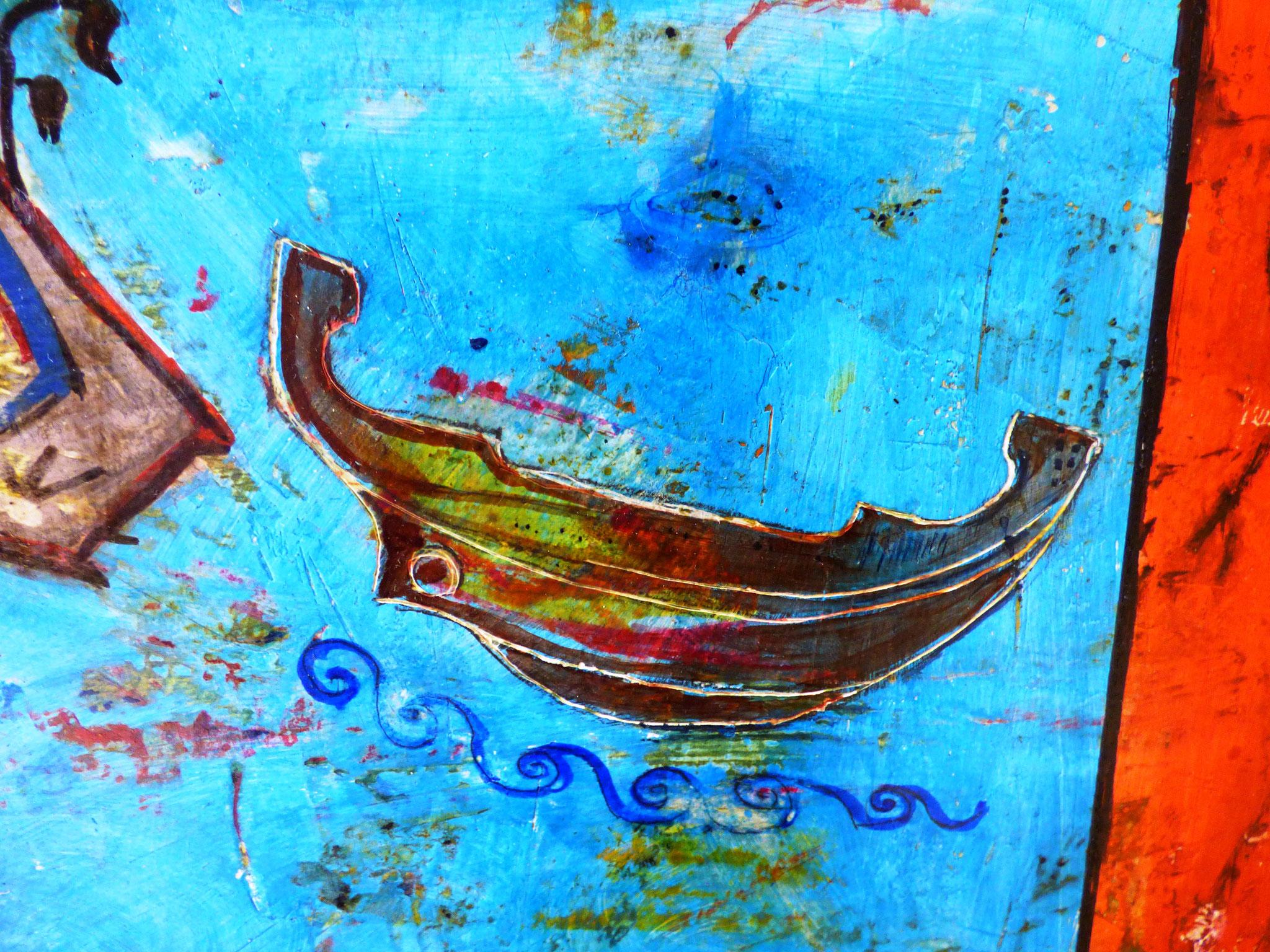particolare  Viria Del Vecchio - Cielo - Terra - Acqua tecnica mista 50x60