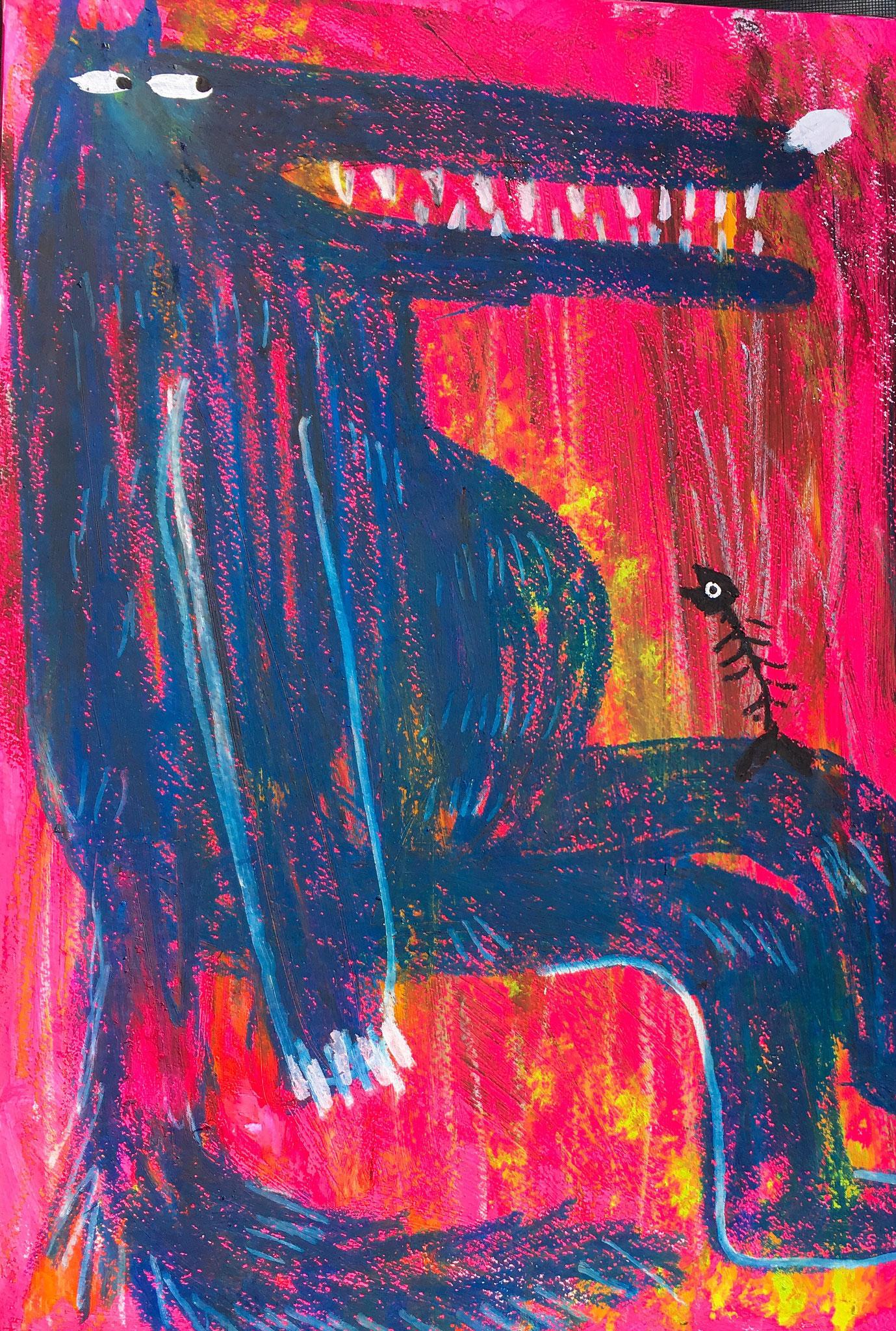 「膝の上の骨」2018年、アクリル・オイルパステル、B3(515×364mm)