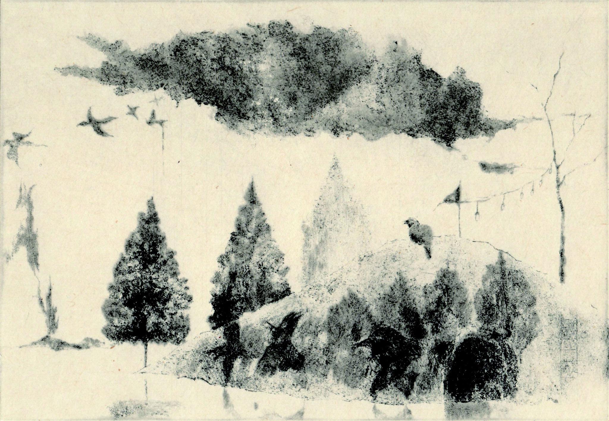「夏至の丘」2018年、ソフトグランド・エッチング・ドライポイント・雁皮刷り、イメージサイズ 140×200mm