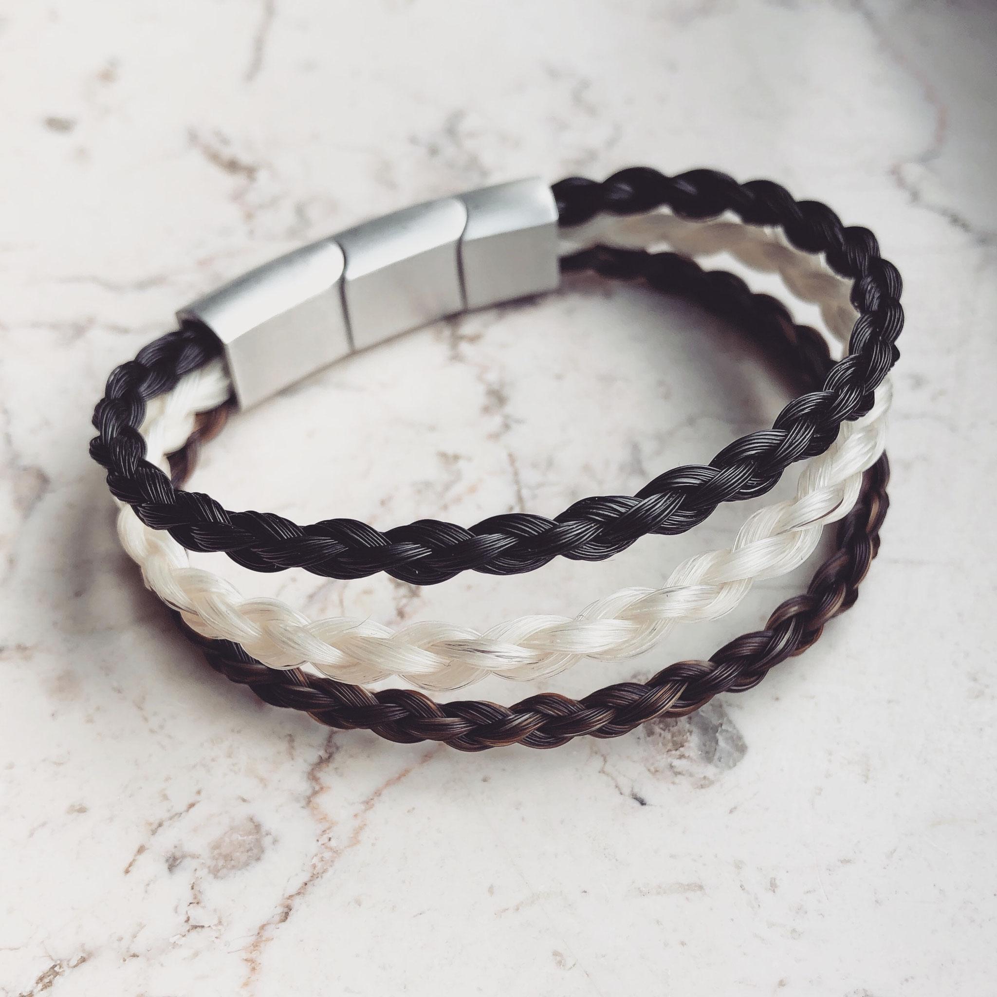 3er Armband, 4-fach rund geflochten mit Edelstahl Magnetverschluss in matt-Optik.