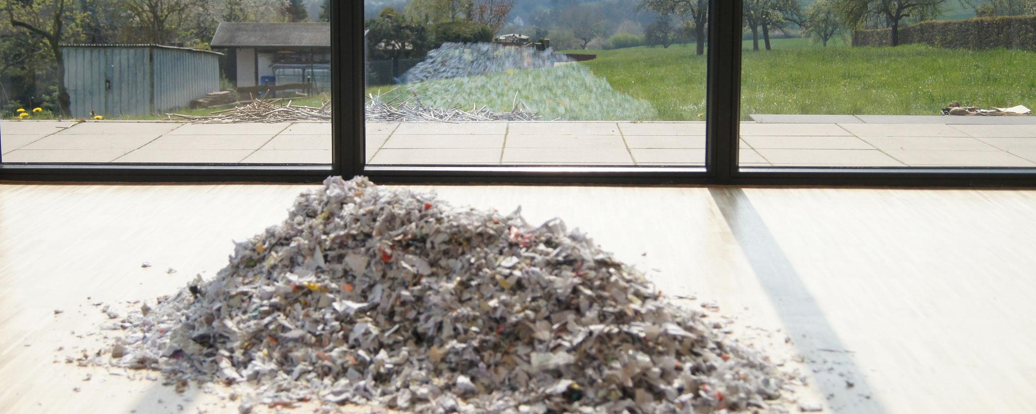"""""""kleine Hügel"""", geschreddertes Papier (drinnen),Schilf aus dem Lacher See (draussen) , 2019"""