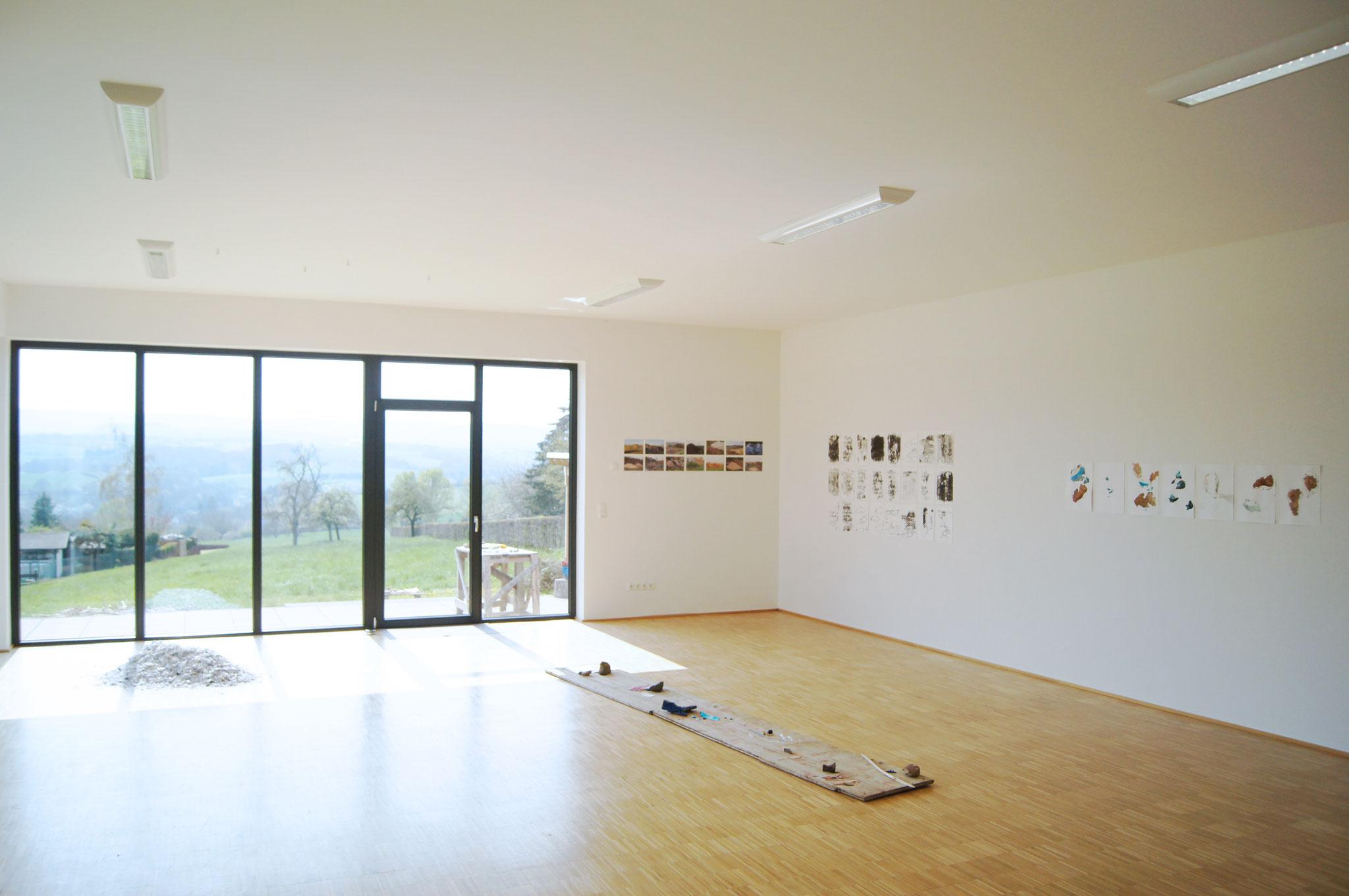"""Ausstellungsansicht, """"Aber die Landschaft"""", Kunstpavillon Burgbrohl, 2019"""