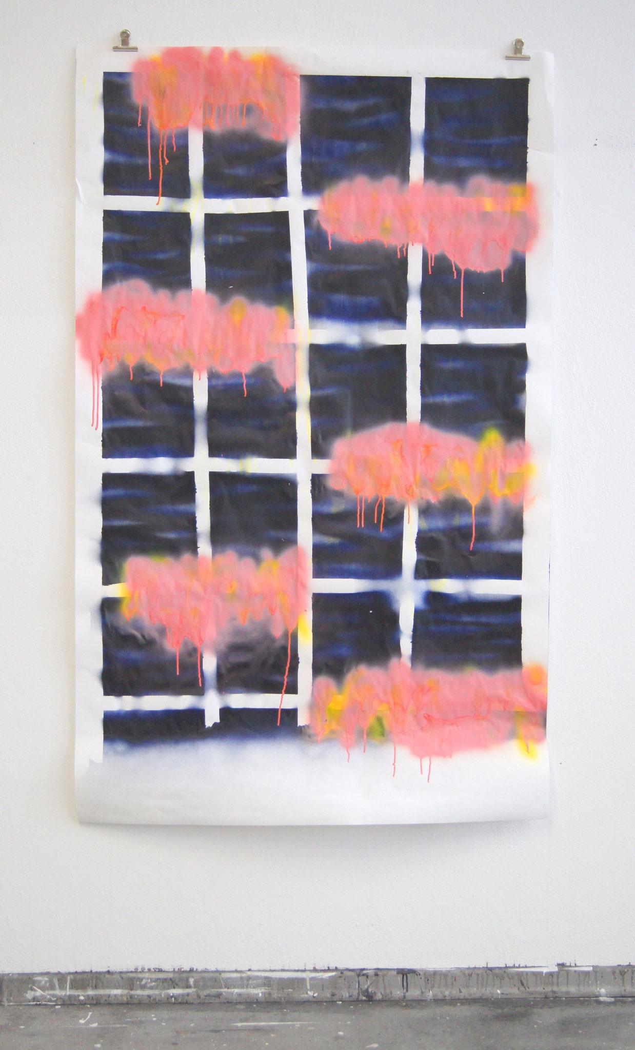 Himmelsstück, Ölkreide und Acrylspray, 1m x 1,60m