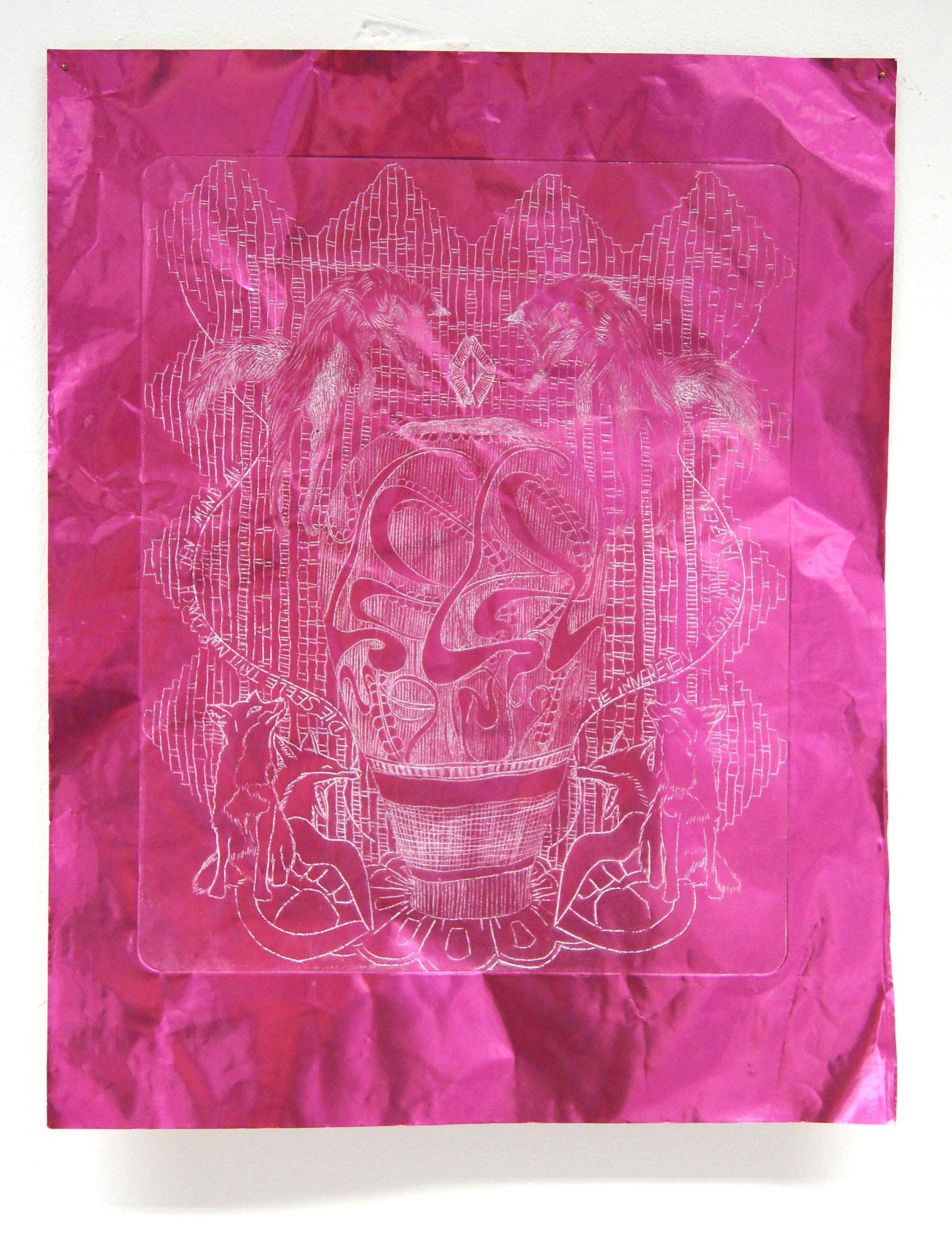 Pink Fox  Radierung auf Metallpapier 40x50 cm